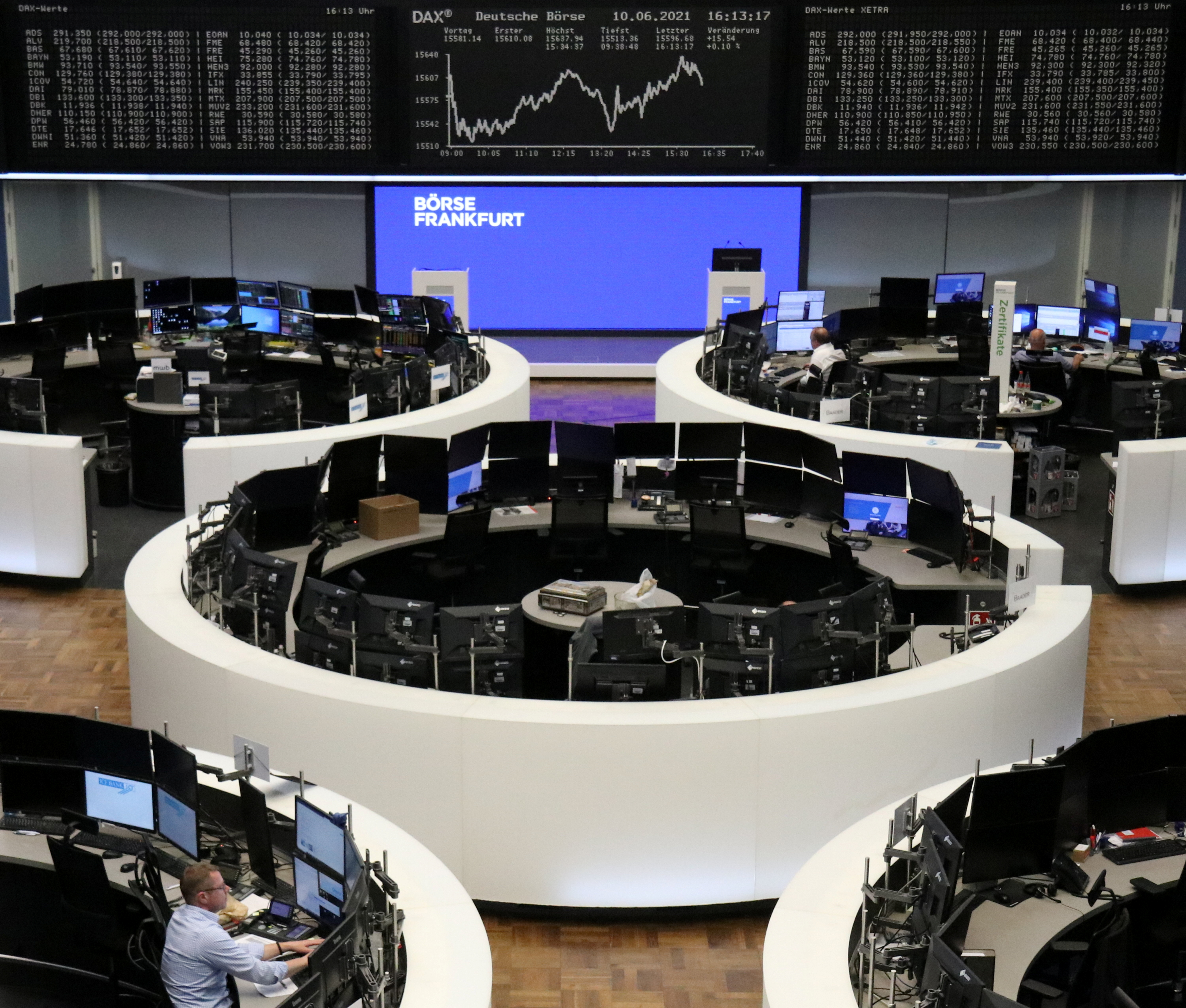 The German share price index DAX graph is pictured at the stock exchange in Frankfurt, Germany, June 10, 2021.    REUTERS/Staff