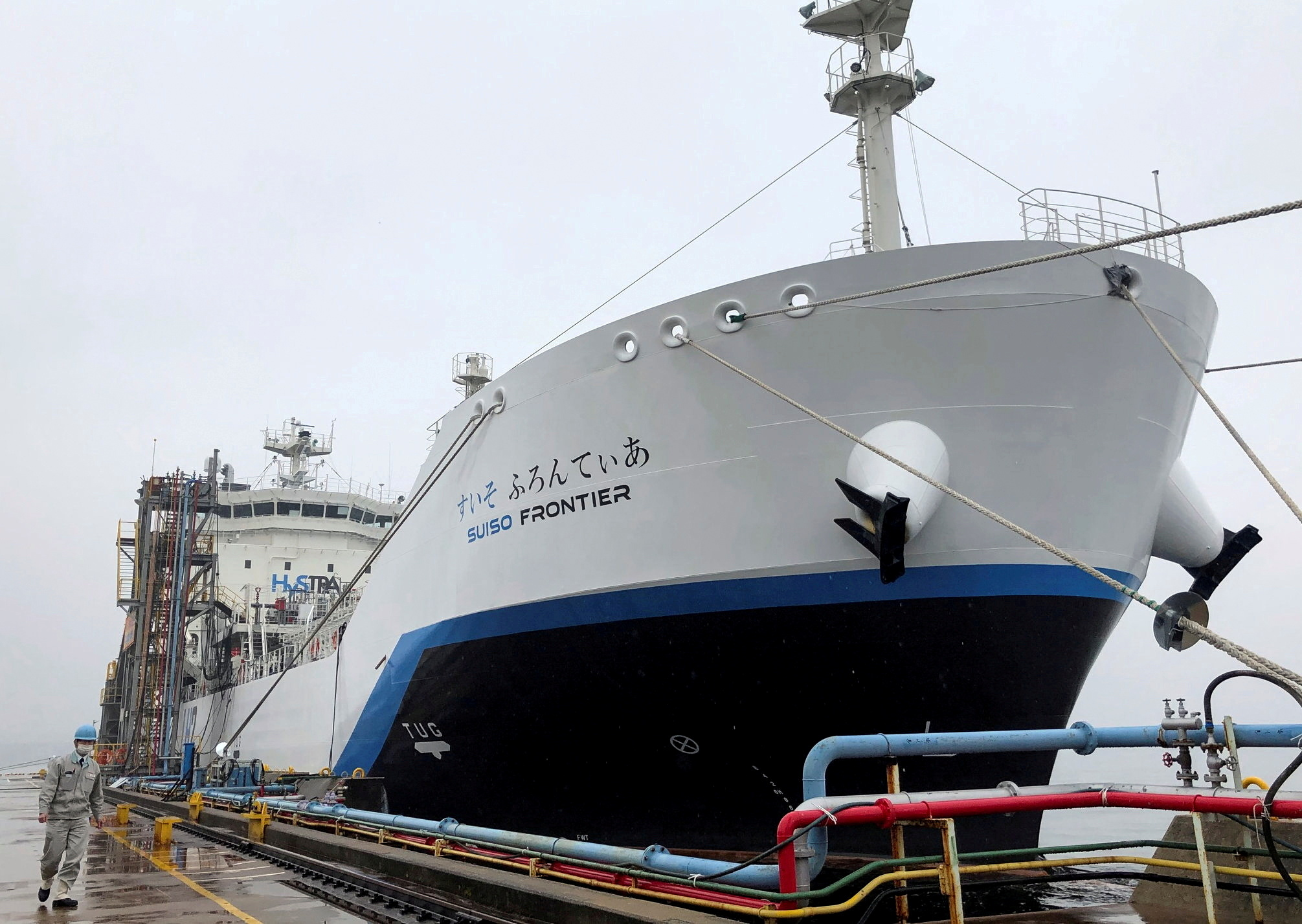 The liquefied hydrogen carrier SUISO FRONTIER, built by Kawasaki Heavy Industries and due to transport its first cargo of hydrogen extracted from brown coal from Australia to Japan, is docked at Kobe Works yard in Kobe, western Japan January 22, 2021. Picture taken January 22, 2021.  REUTERS/Yuka Obayashi