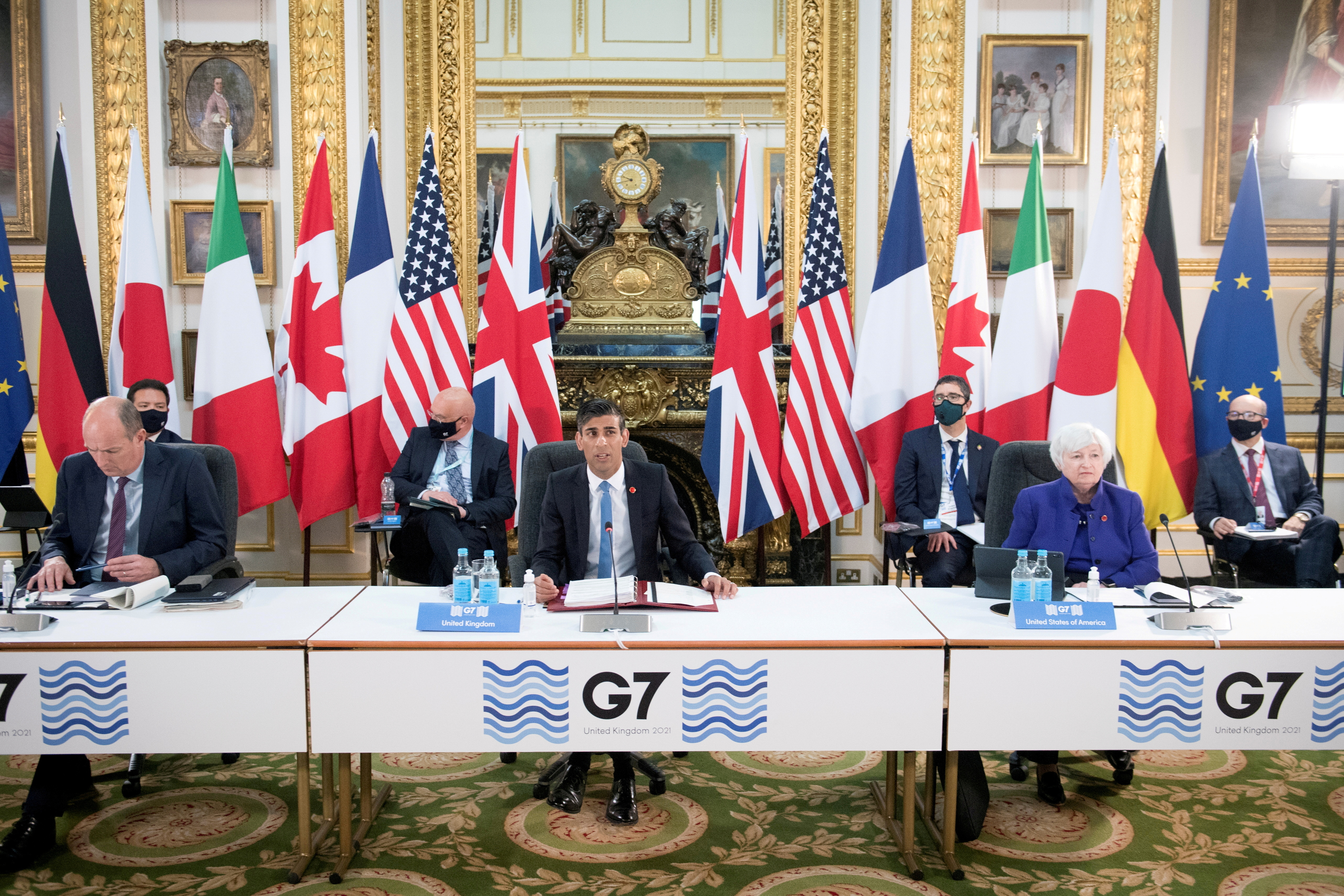 Britain's Chancellor of the Exchequer Rishi Sunak speaks at a meeting of finance ministers from across the G7 nations ahead of the G7 leaders' summit, at Lancaster House in London, Britain June 4, 2021. Stefan Rousseau/PA Wire/Pool via REUTERS//File Photo/File Photo