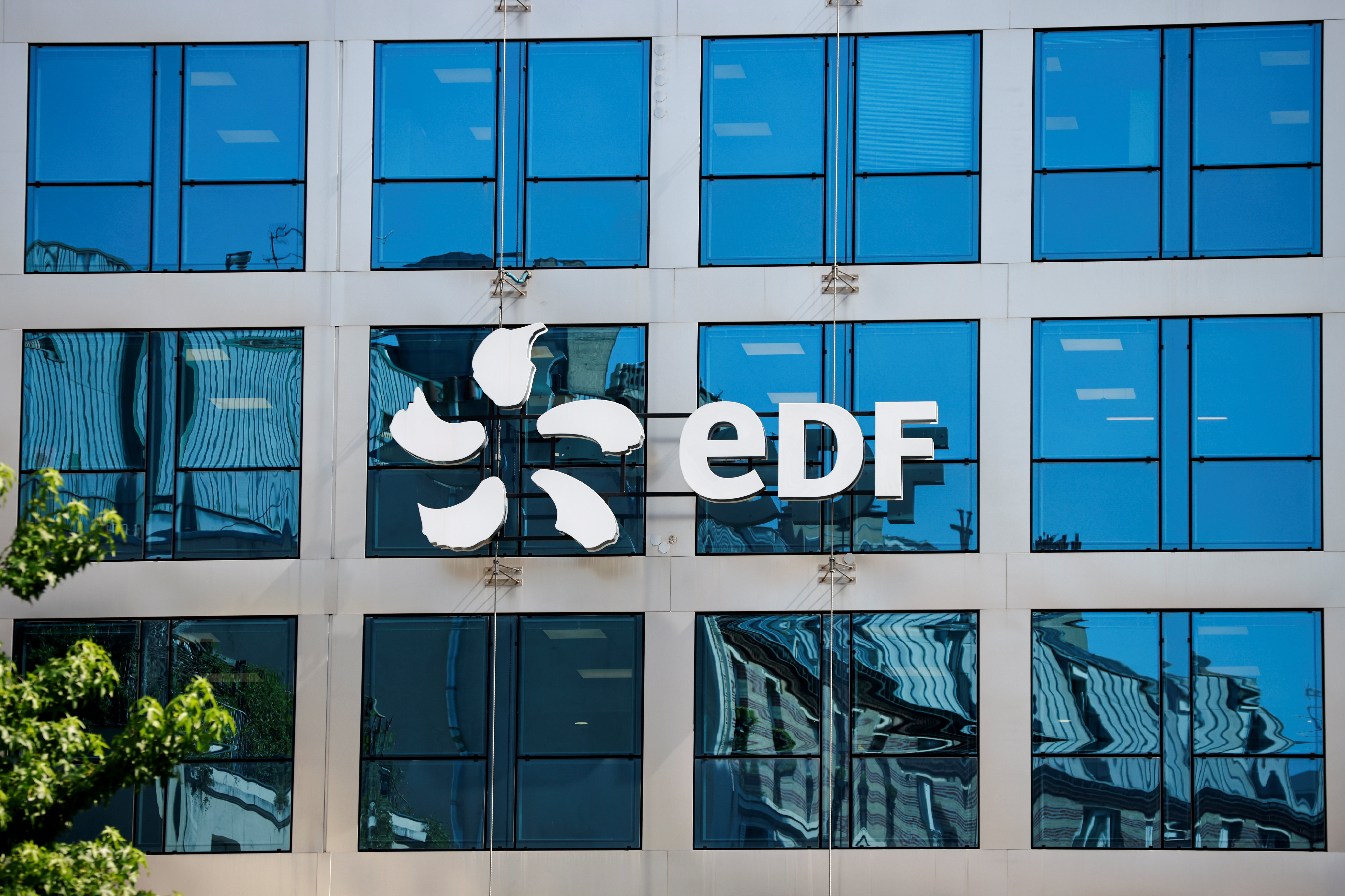 The company logo of Electricite de France (EDF) is seen on the facade of EDF's headquarters in Paris, France, July 22, 2021. REUTERS/Sarah Meyssonnier