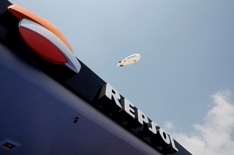The logo of Spanish energy giant Repsol SA is seen during the opening ceremony of its first gas station in Mexico City, Mexico March 12, 2018. REUTERS/Carlos Jasso/File Photo