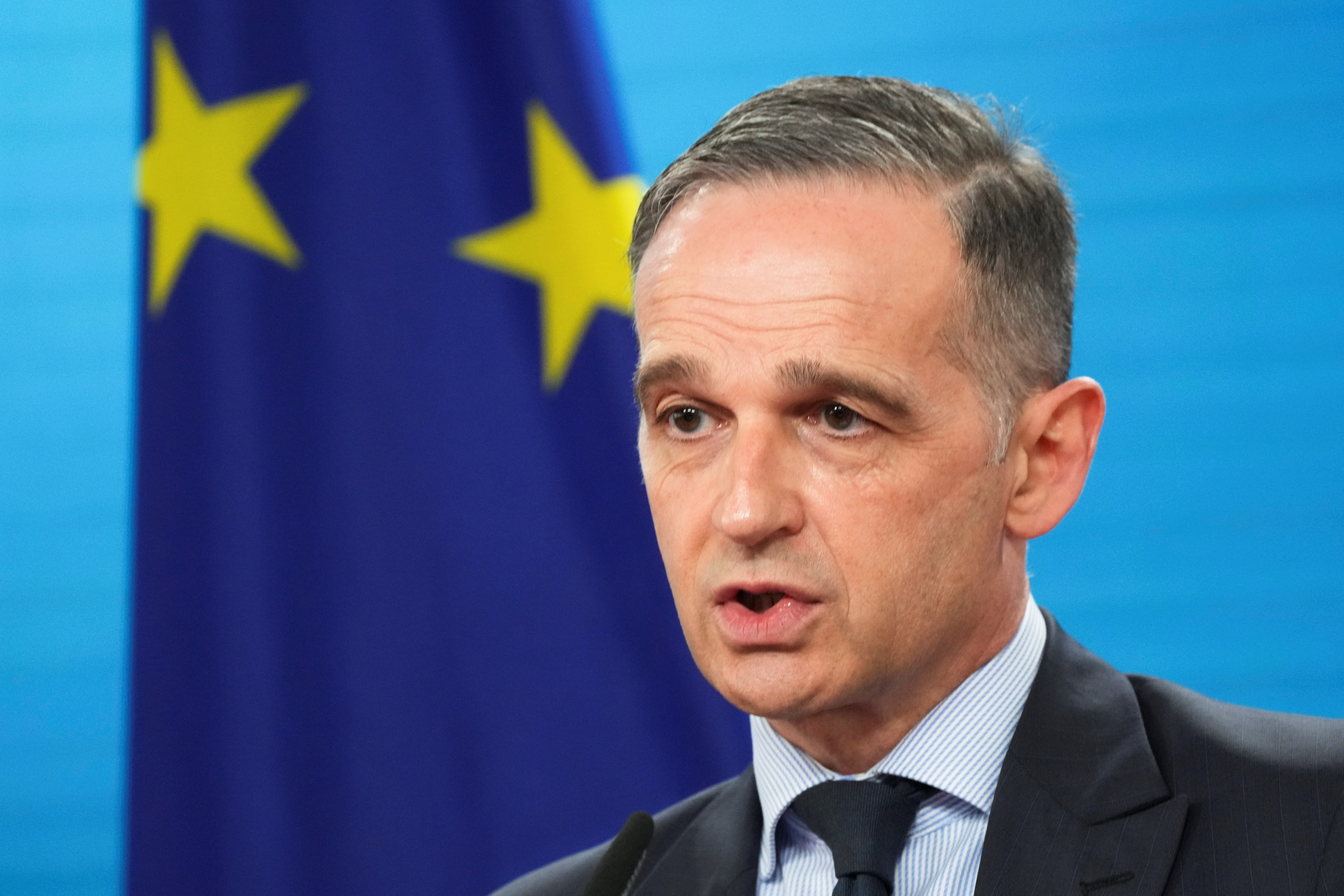 German Foreign Minister Heiko Maas gives a statement ahead of a virtual meeting of EU foreign ministers at the foreign ministry in Berlin, Germany, May 18, 2021. Markus Schreiber/Pool via REUTERS