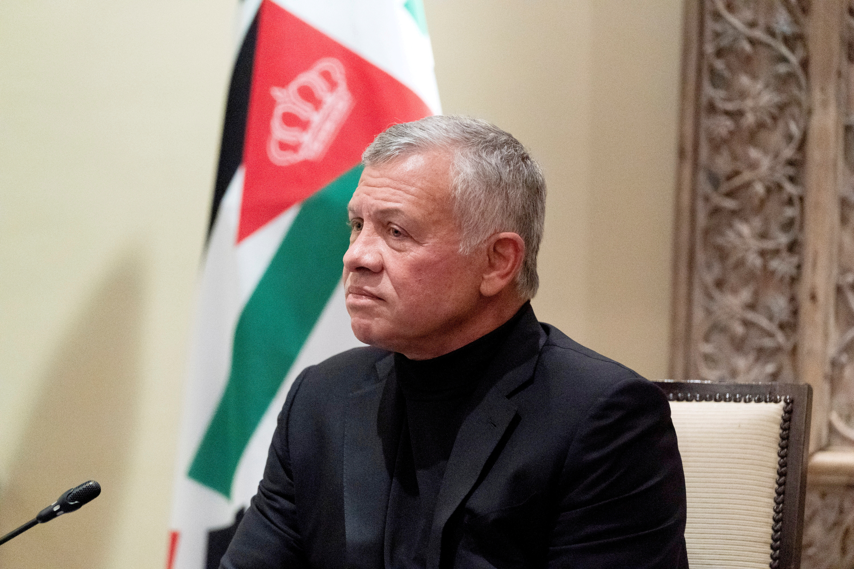 Jordan's King Abdullah II listens during a meeting in Amman, Jordan, May 26, 2021. Alex Brandon/Pool via REUTERS/File Photo