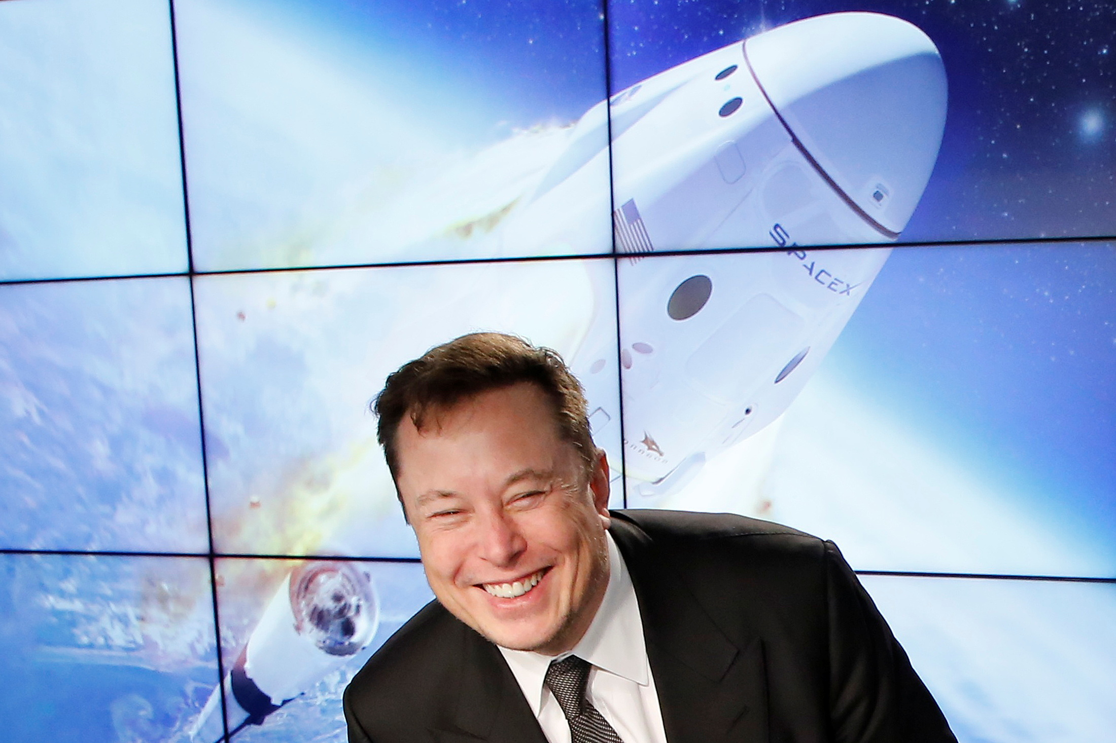 SpaceX founder and chief engineer Elon Musk reacts at a post-launch news conference to discuss the  SpaceX Crew Dragon astronaut capsule in-flight abort test at the Kennedy Space Center in Cape Canaveral, Florida, U.S. January 19, 2020. REUTERS/Joe Skipper/