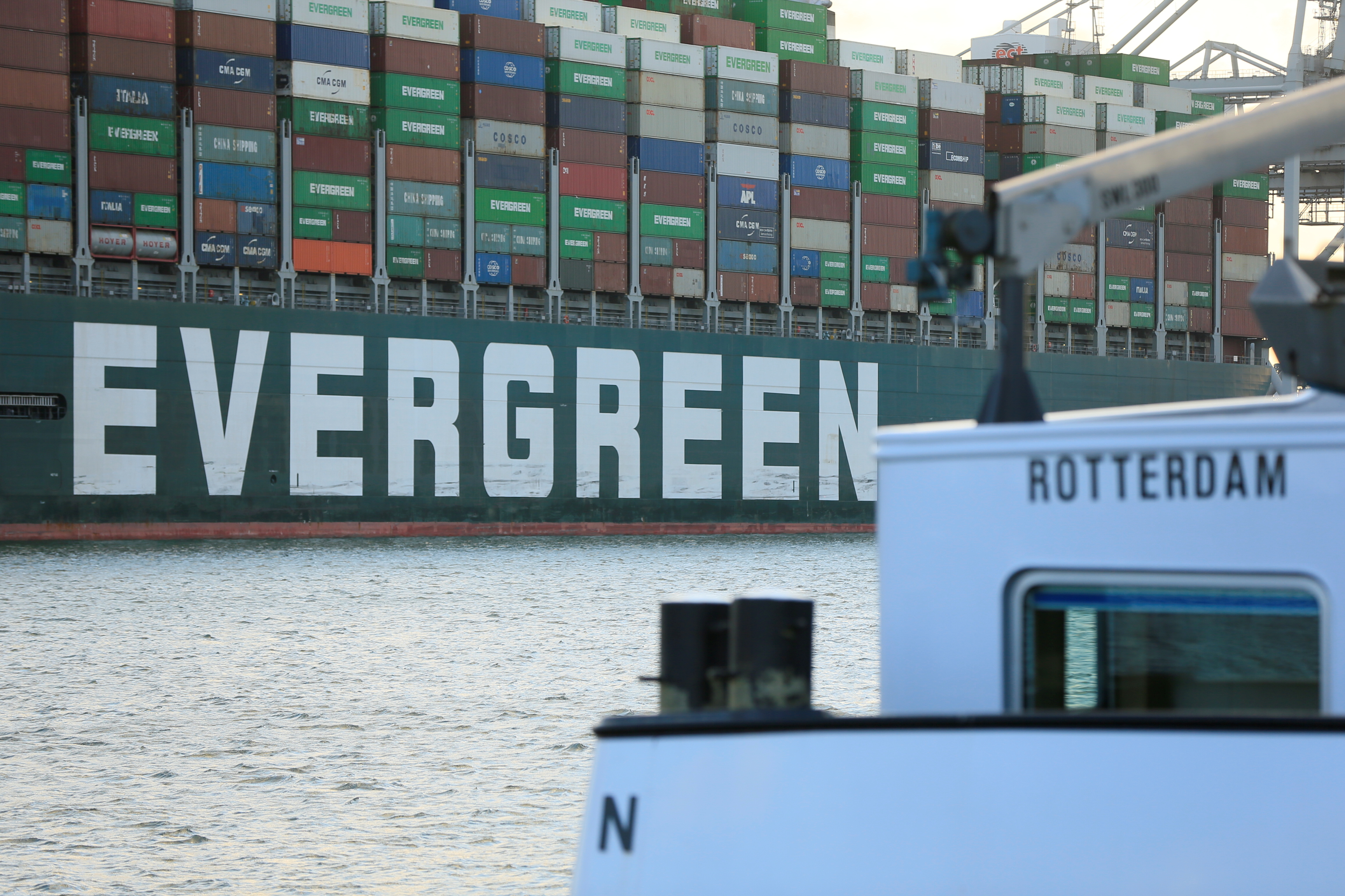 The Ever Given container ship that blocked the Suez Canal in March, docks in Rotterdam, Netherlands, July 29, 2021. REUTERS/Eva Plevier