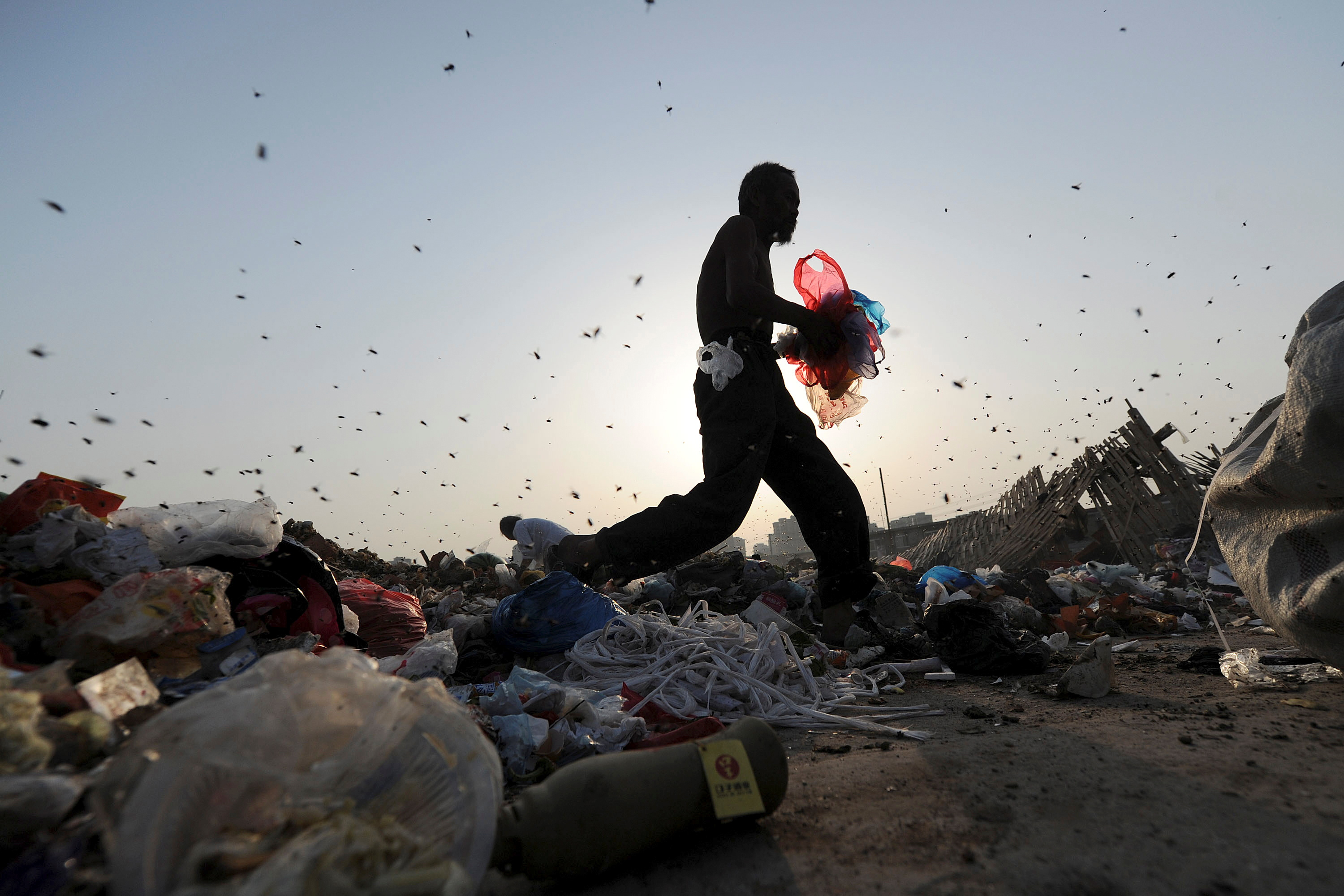Insects fly around labourers sorting and collecting rubbish for recycling at a dump in Hefei, Anhui province, May 18, 2011. REUTERS/Stringer/File Photo