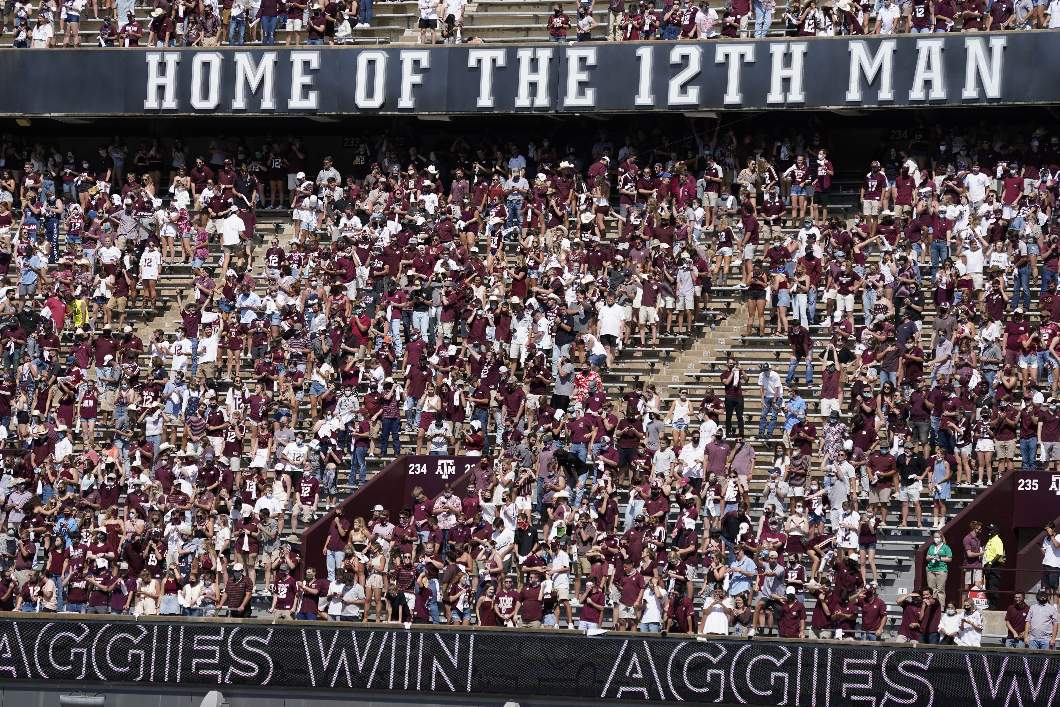 Texas A&M Aggies fans in the stands cheer after the team defeated the Florida Gators at Kyle Field, College Station, Texas, Oct 10, 2020. Mandatory Credit: Scott Wachter-USA TODAY Sports