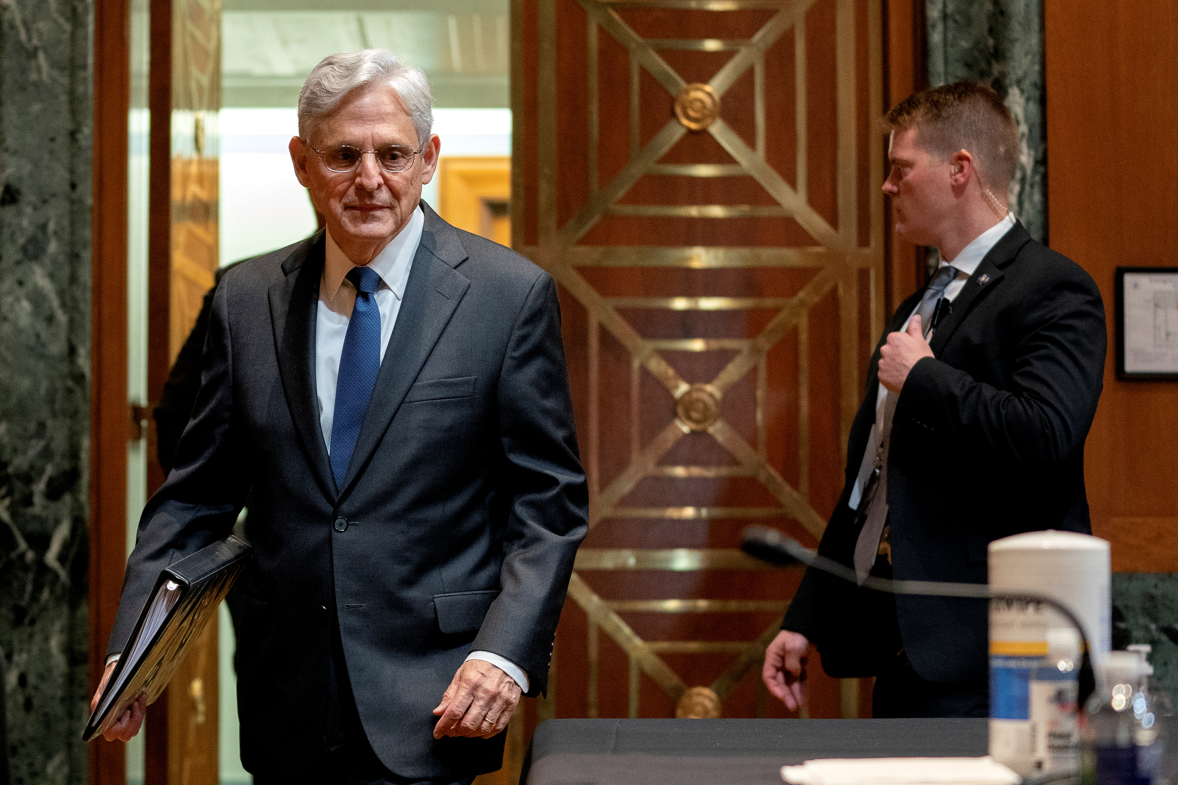 Merrick Garland, U.S. attorney general arrives to a Senate Appropriations Subcommittee on Commerce, Justice, Science, and Related Agencies hearing at the Dirksen Senate Office building in Washington, D.C., U.S., June 9, 2021. Stefani Reynolds/Pool via REUTERS