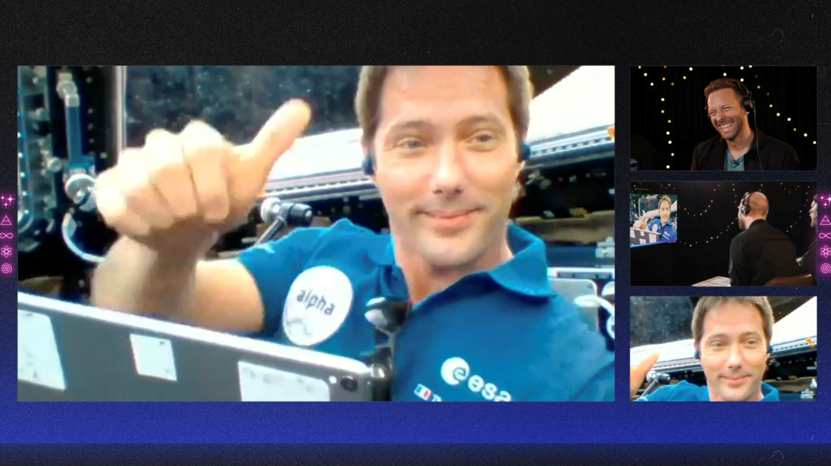 French ESA astronaut Thomas Pesquet gestures during an interview with members of Coldplay, in this still image from an undated handout video obtained by REUTERS on May 6, 2021. Coldplay/Handout via REUTERS