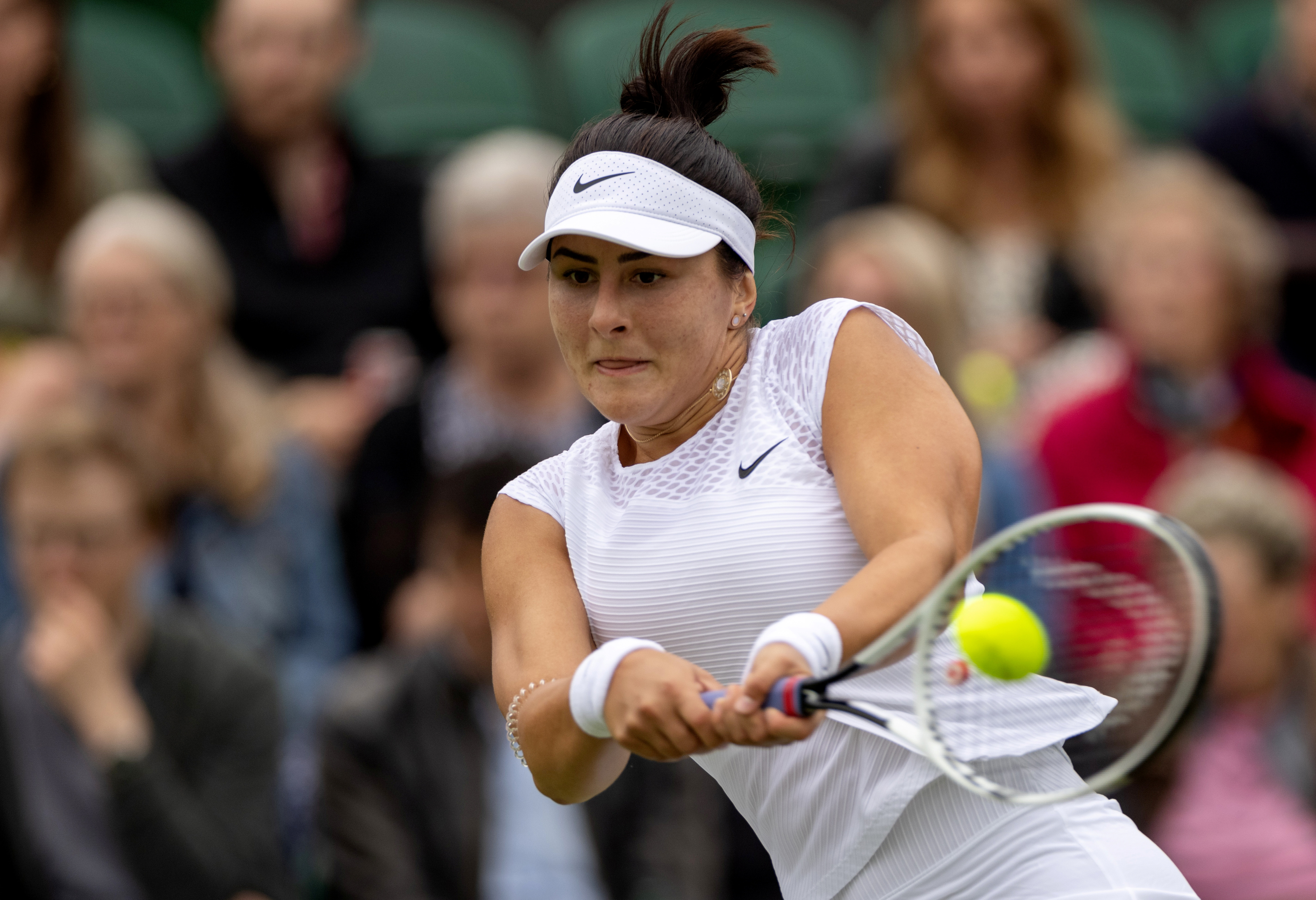 Tennis - Wimbledon - All England Lawn Tennis and Croquet Club, London, Britain - June 30, 2021 Canada's Bianca Andreescu in action during her first round match against France's Alize Cornet Pool via REUTERS/Aeltc/simon Bruty/File Photo