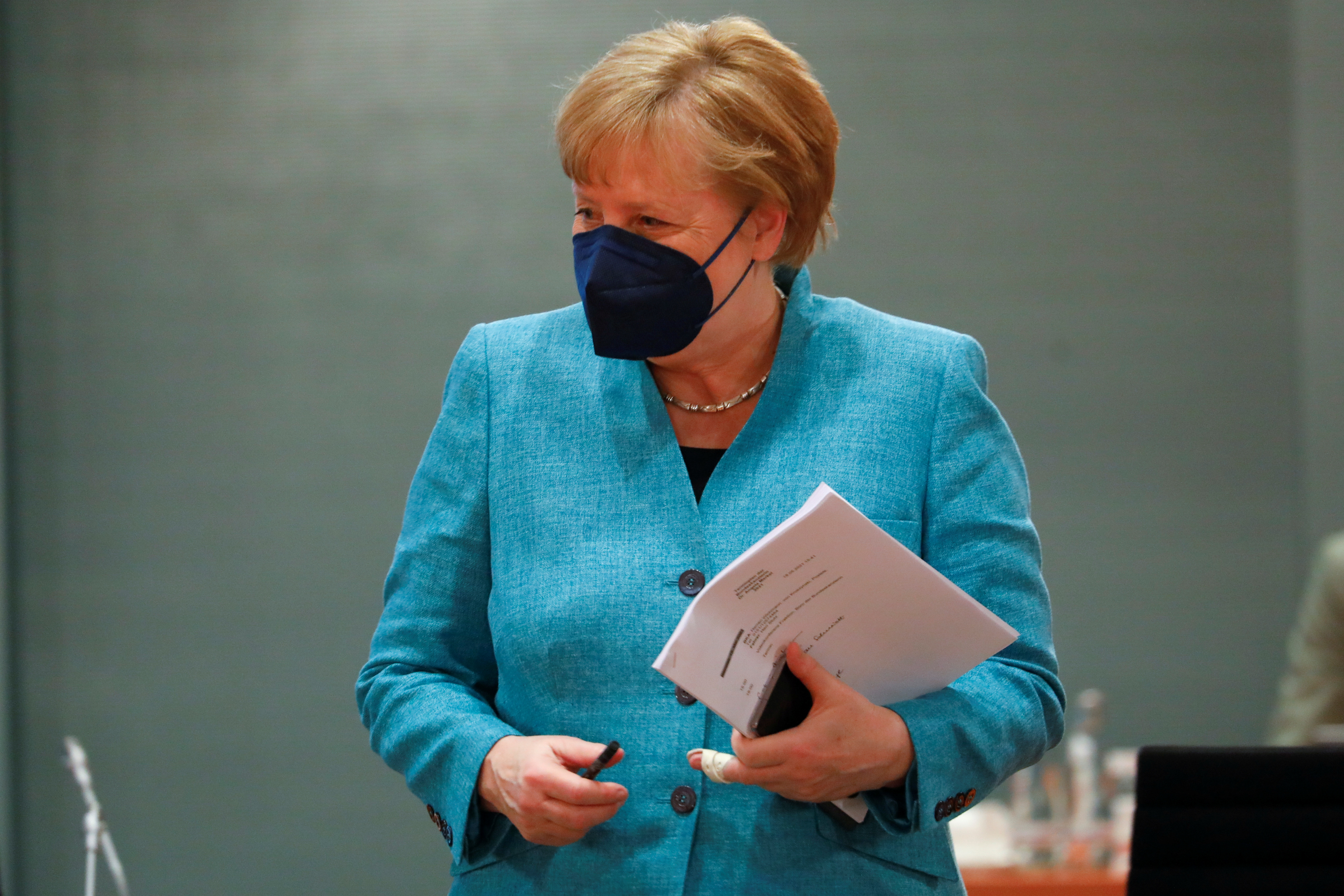 German Chancellor Angela Merkel arrives for the weekly cabinet meeting at the Chancellery in Berlin, Germany, May 19, 2021. REUTERS/Michele Tantussi/Pool