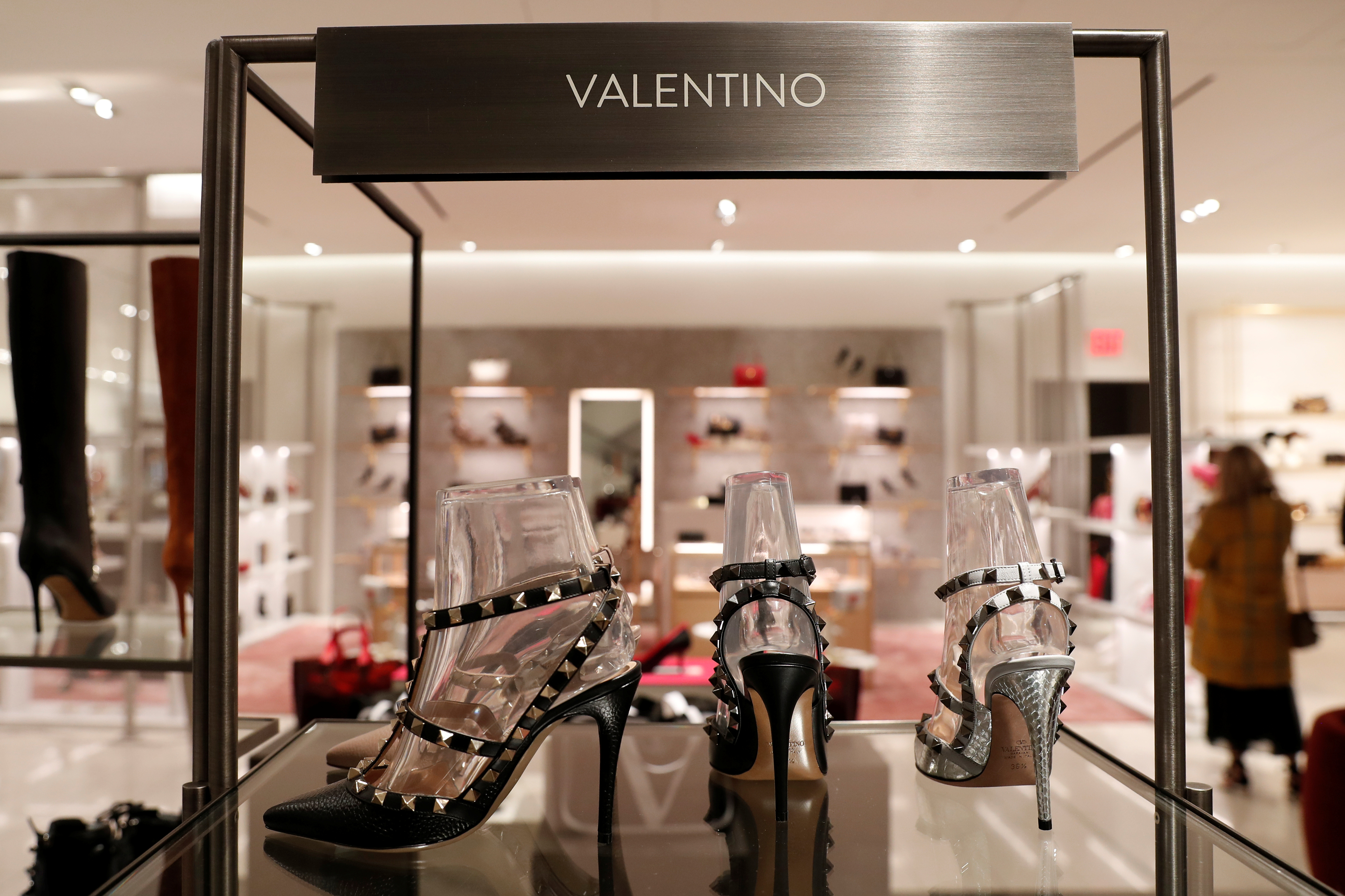 Designer Valentino shoes are seen on display at the Nordstrom flagship store is seen during a media preview in New York, U.S., October 21, 2019. REUTERS/Shannon Stapleton