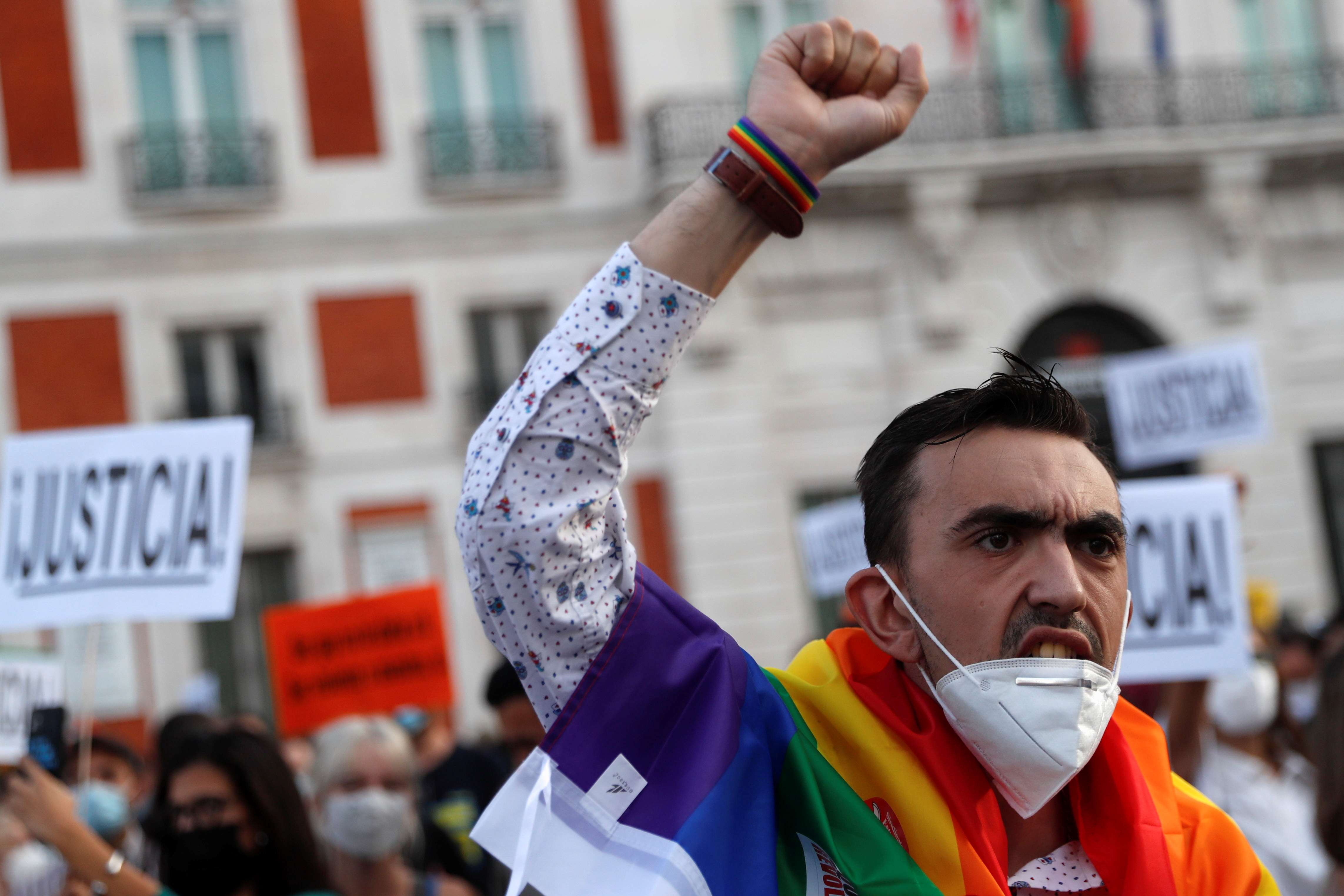 LGBTIQ+ activists and supporters demonstrate against hate crimes at Puerta del Sol square in Madrid, Spain, September 11, 2021. REUTERS/Susana Vera
