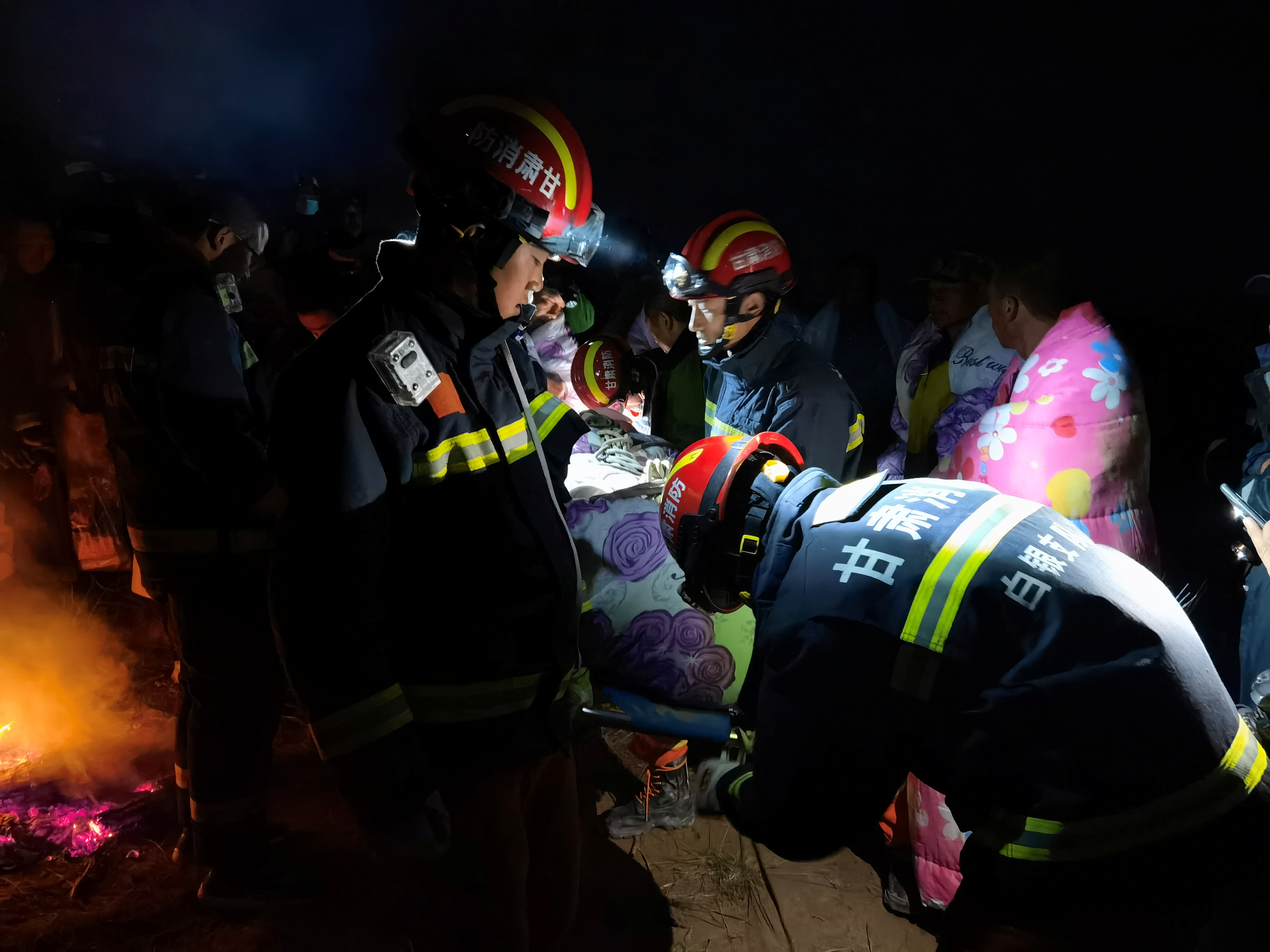 Rescue workers work at the site where extreme cold weather killed participants of an 100-km ultramarathon race in Baiyin, Gansu province, China May 22, 2021. Picture taken May 22, 2021. cnsphoto via REUTERS