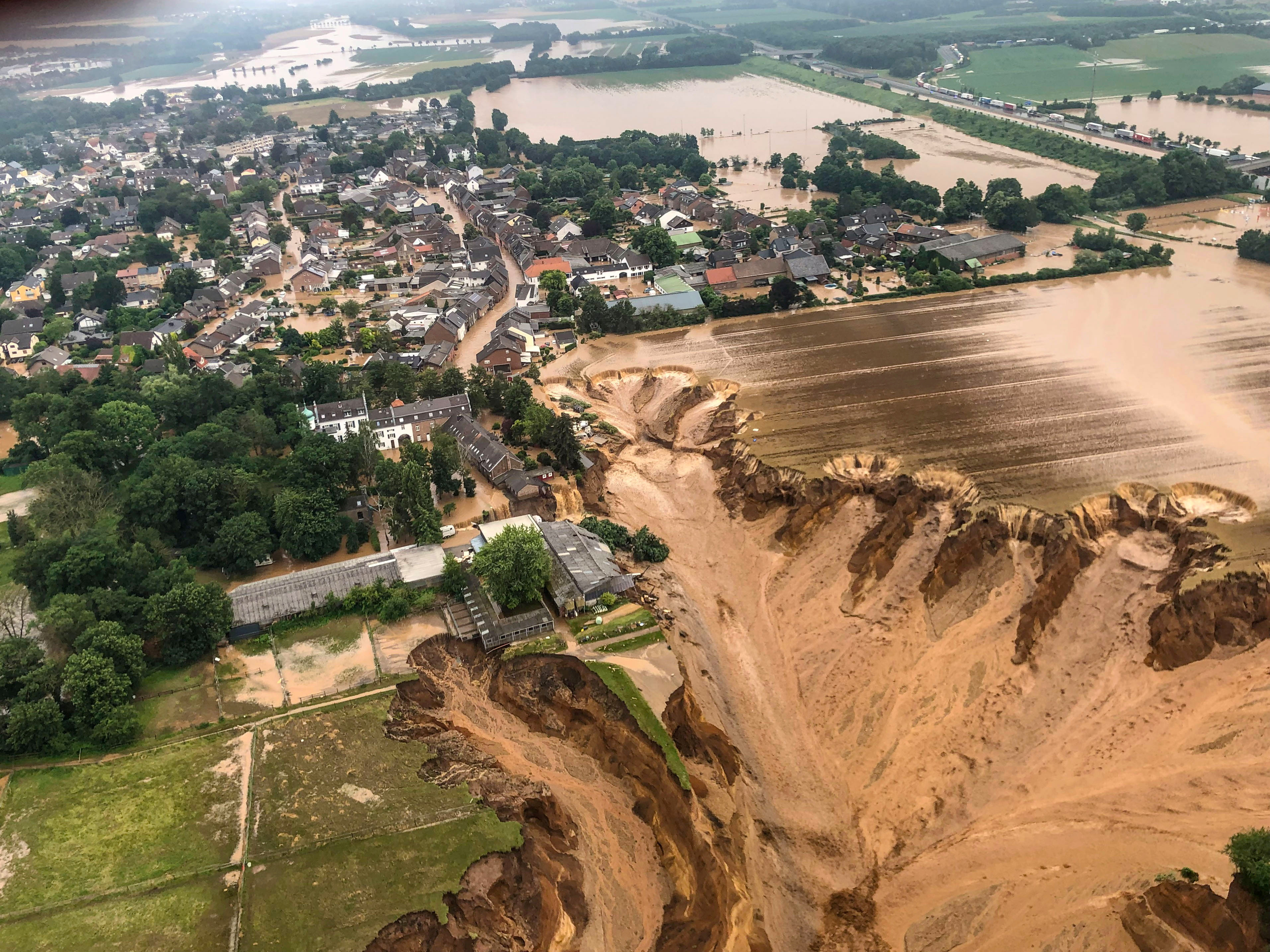 An areal view after flooding at Erftstadt-Blessem, Germany, July 16, 2021.  REUTERS/Rhein-Erft-Kreis   NO RESALES. NO ARCHIVES