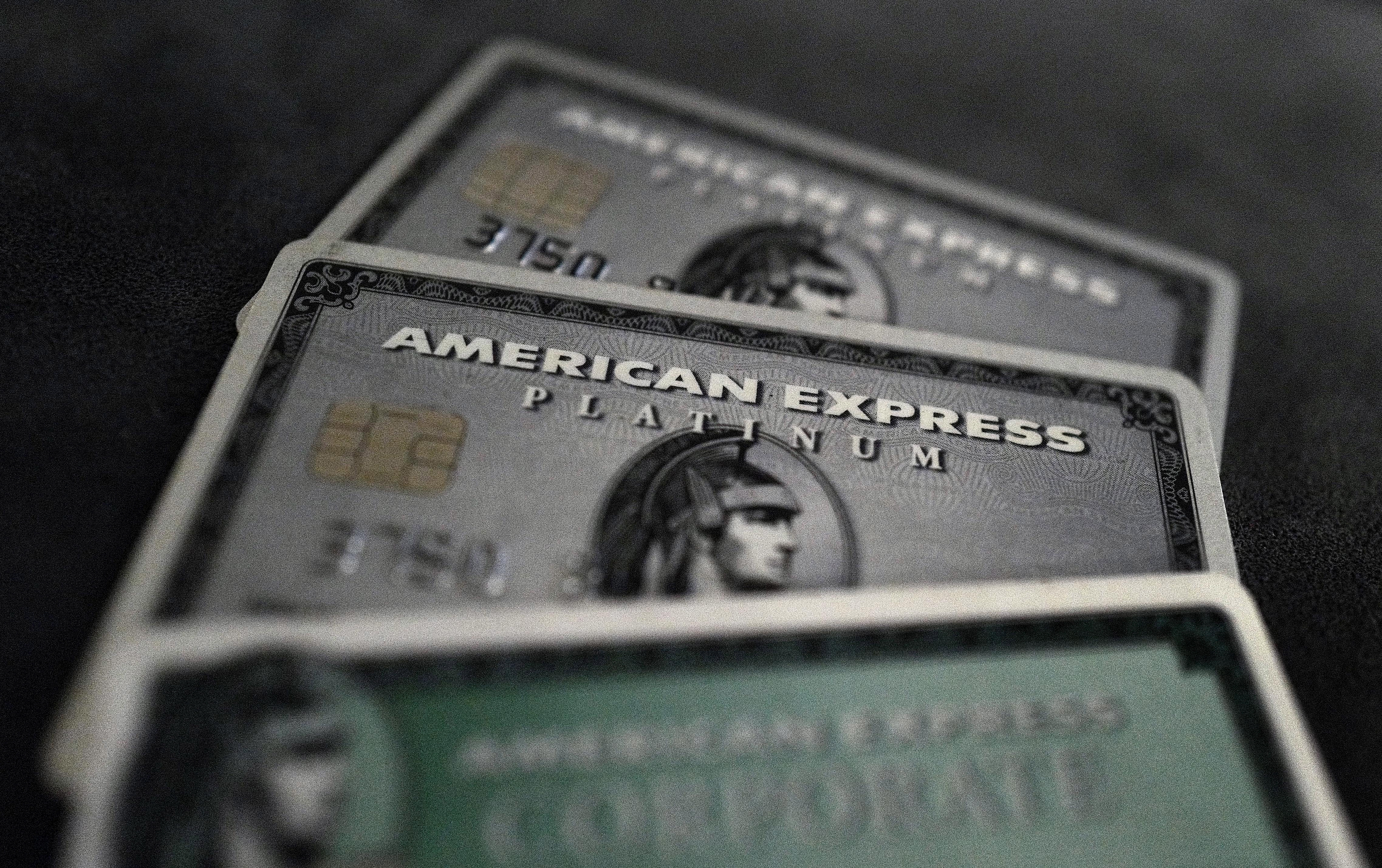 Credit cards of American Express are photographed in this illustration picture in this March 17, 2016, file photo. REUTERS/Kai Pfaffenbach/Illustration