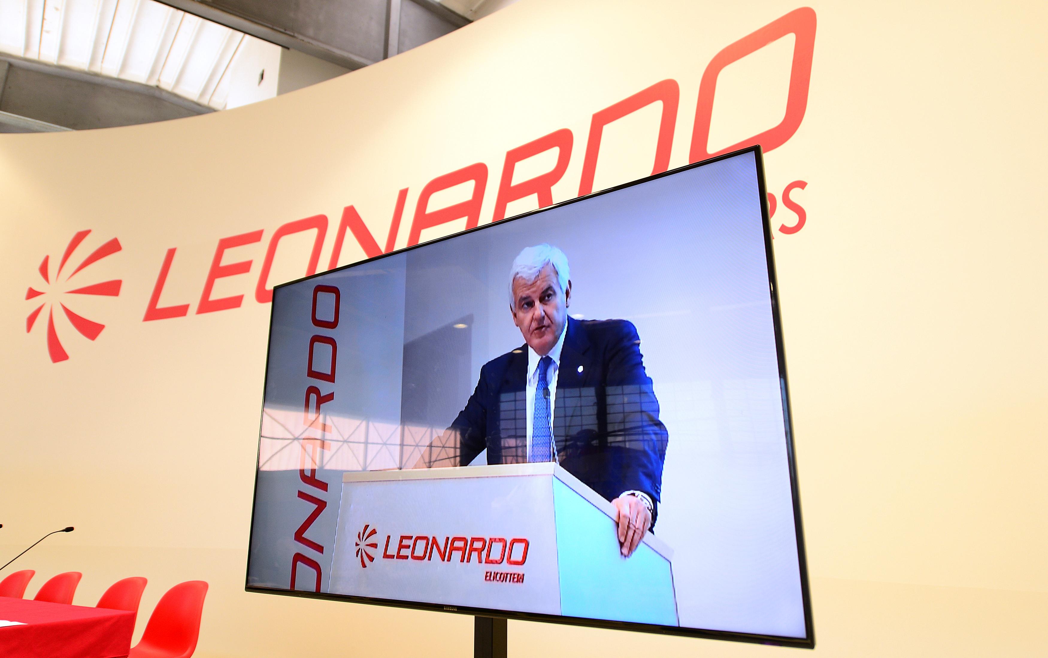 Leonardo's CEO Alessandro Profumo is seen on a screen at the headquarters in Vergiate, near Milan, Italy, January 30, 2018. REUTERS/Massimo Pinca