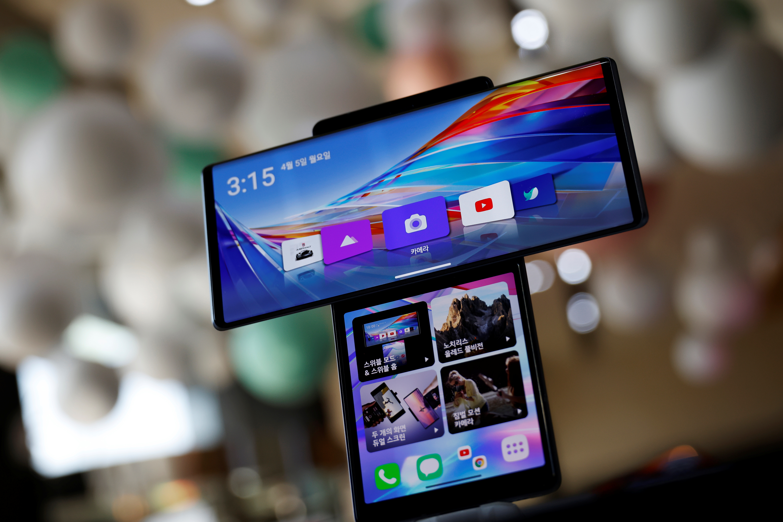 LG Electronics' Wing smartphone is displayed at a store in Seoul, South Korea, April 5, 2021.   REUTERS/Kim Hong-Ji