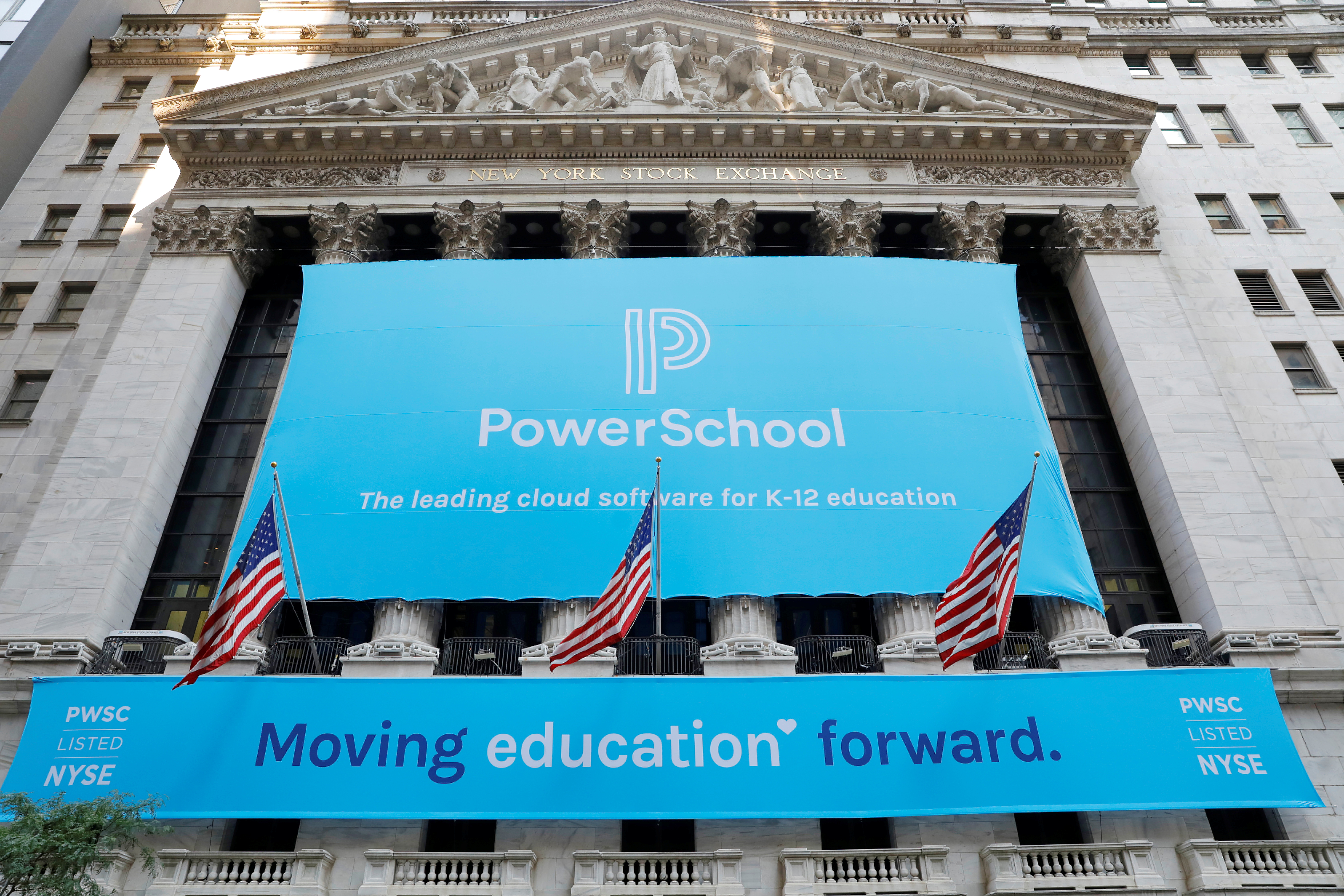 Signage for PowerSchool (NYSE:PWSC) is seen ahead of their Initial public offering (IPO) at the New York Stock Exchange (NYSE) in New York City, New York, U.S., July 28, 2021. REUTERS/Andrew Kelly