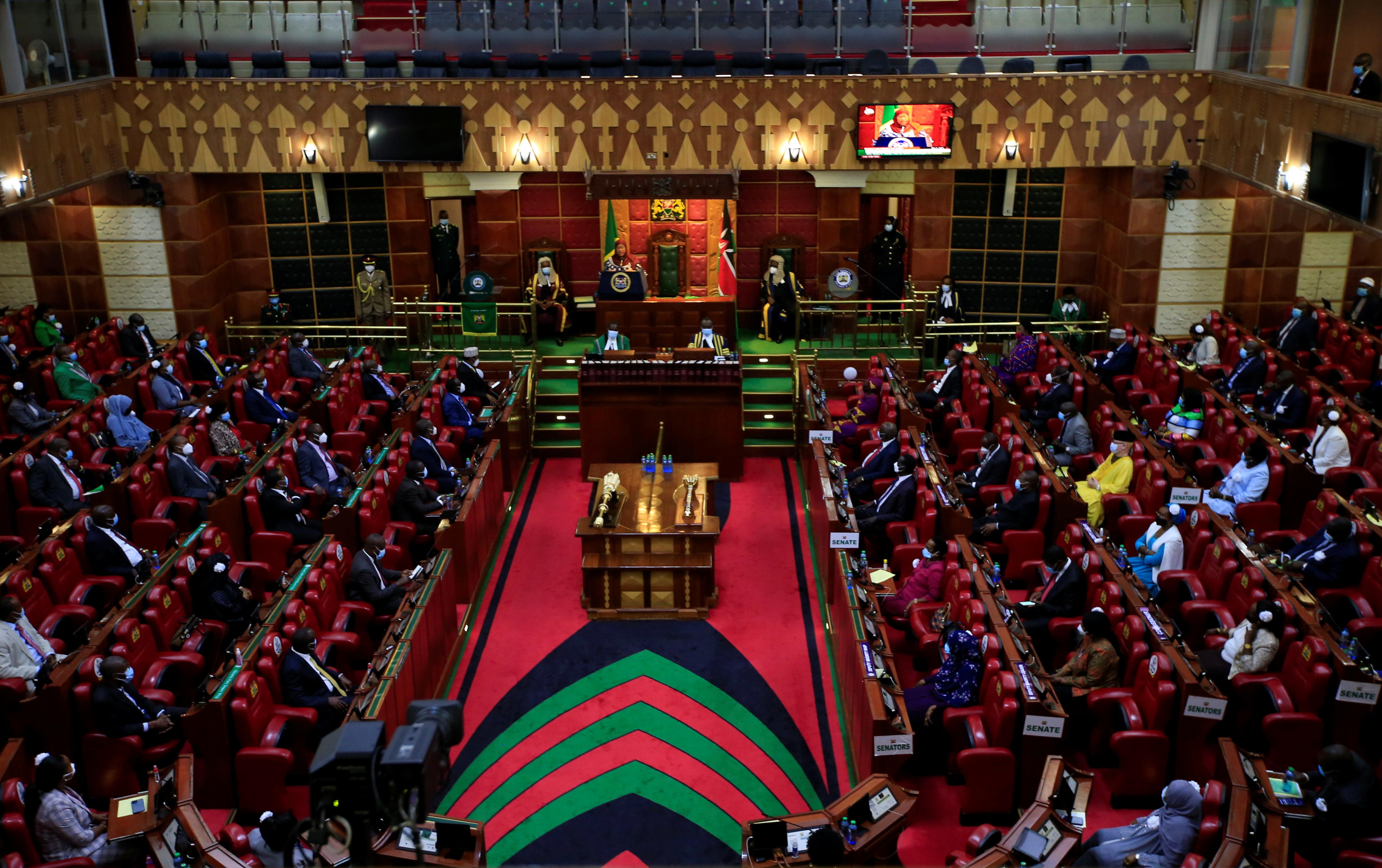 A general view shows Kenyan Members of Parliament and Senators attending an address by Tanzanian President Samia Suluhu Hassan inside the Parliament Buildings in Nairobi, Kenya, May 5, 2021. REUTERS/Monicah Mwangi