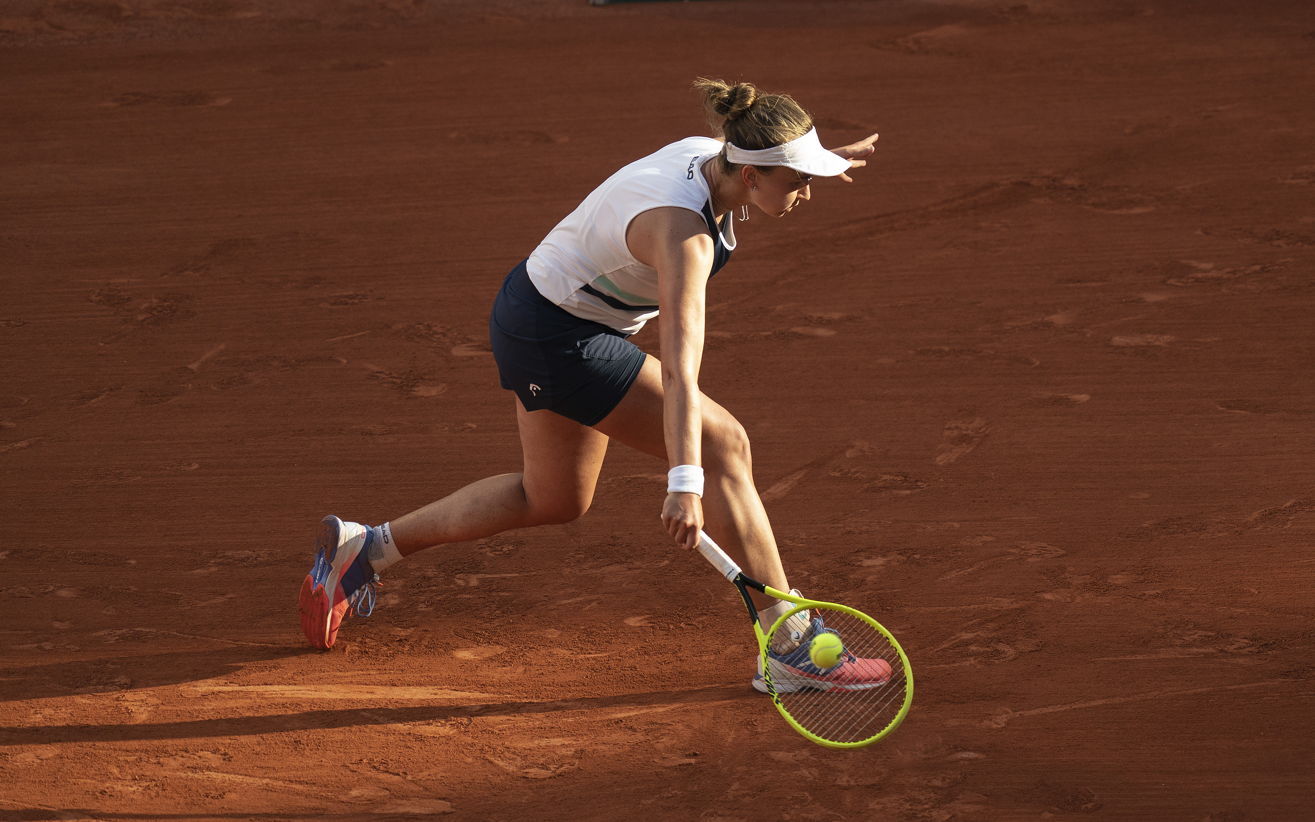 Jun 10, 2021; Paris, France; Barbora Krejcikova (CZE) in action during her semifinal match against Maria Sakkari (GRE) on day 12 of the French Open at Stade Roland Garros. Mandatory Credit: Susan Mullane-USA TODAY Sports