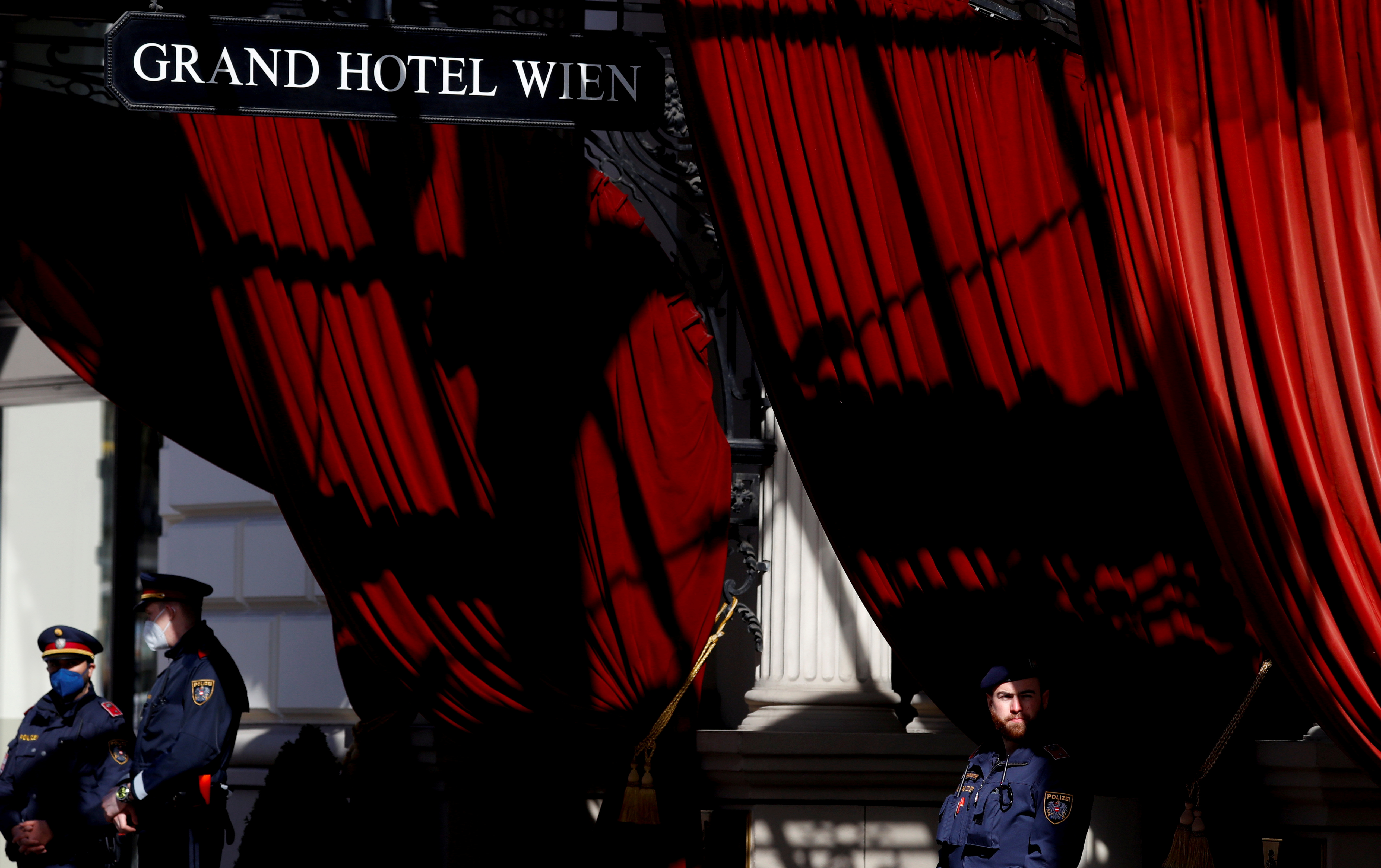 Police stand outside a hotel where a meeting of the JCPOA Joint Commission or Iran nuclear deal is held in Vienna, Austria, April 9, 2021. REUTERS/Leonhard Foeger