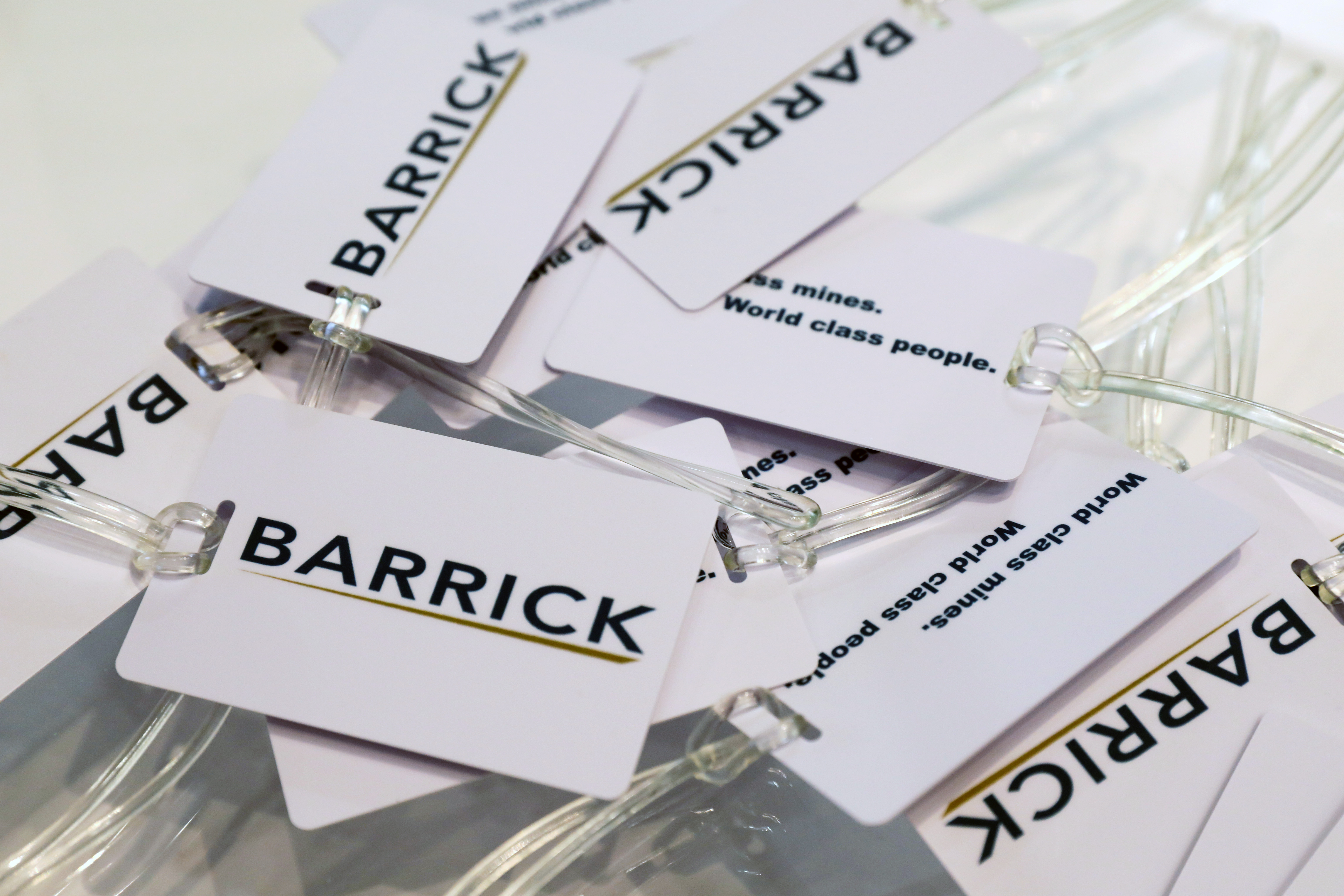 Souvenir luggage tags are displayed at a Barrick Gold Corp at the Prospectors and Developers Association of Canada (PDAC) annual conference in Toronto, Ontario, Canada March 1, 2020.  REUTERS/Chris Helgren