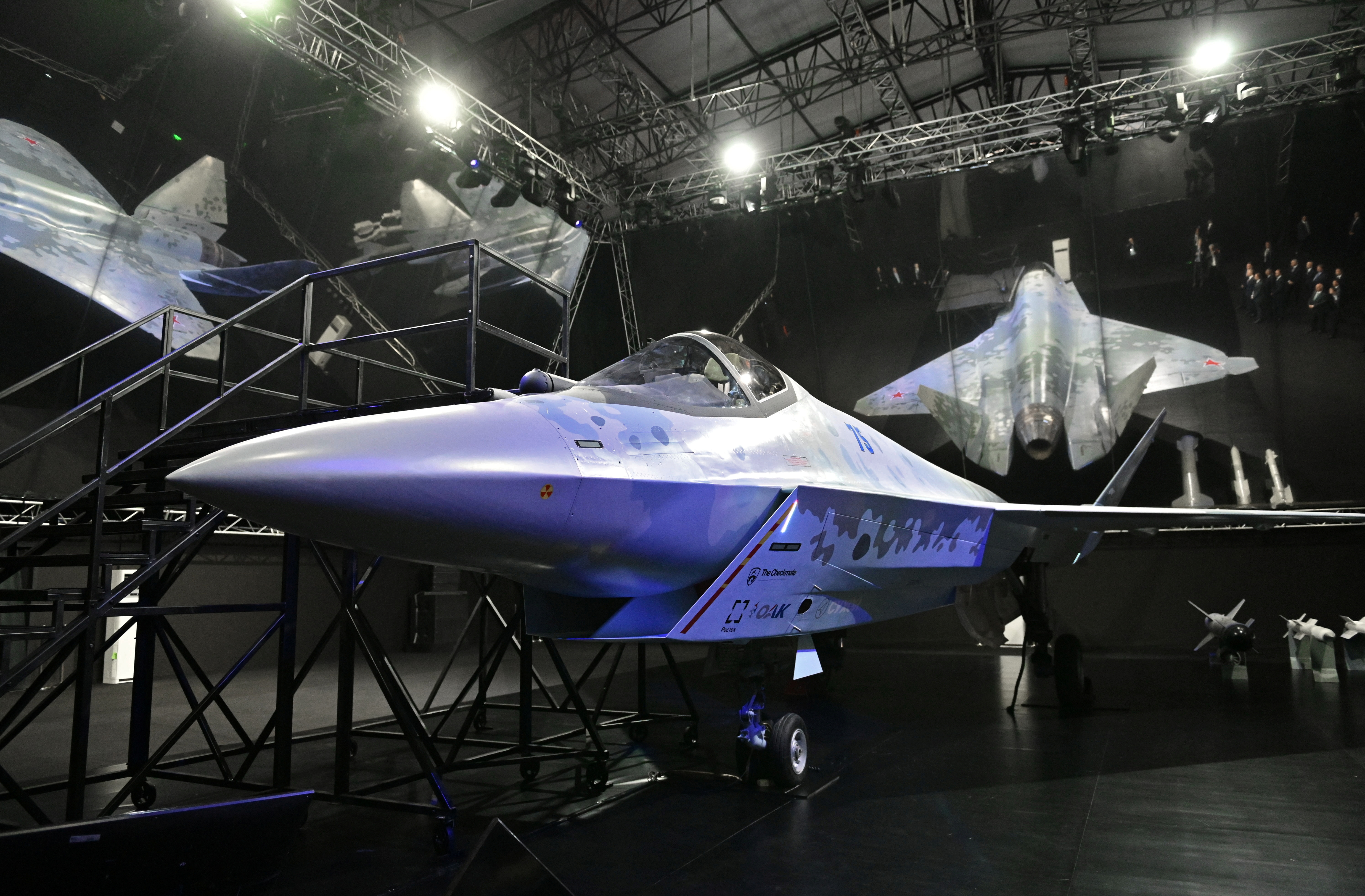 Checkmate, new Sukhoi fifth-generation stealth fighter jet is seen during an opening ceremony of the MAKS-2021 air show in Zhukovsky, outside Moscow, Russia, July 20, 2021.  Sputnik/Alexei Nikolskyi/Kremlin via REUTERS