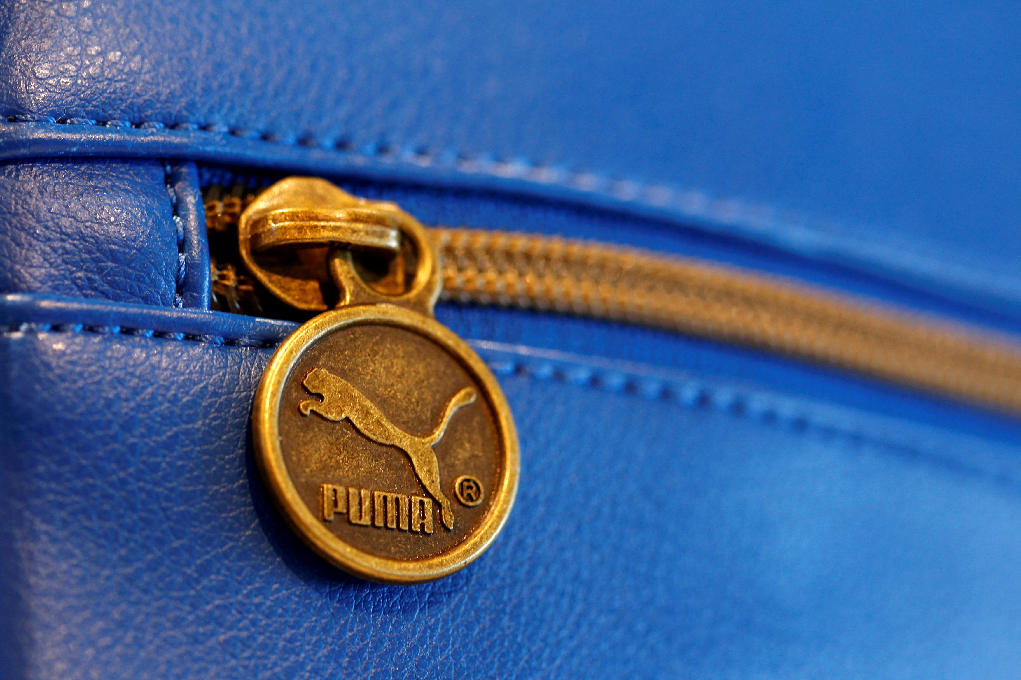A handbag with the logo of German sports goods firm Puma is pictured in a shop after the company's annual news conference in Herzogenaurach, Germany February 20, 2014.  REUTERS/Michaela Rehle//File Photo