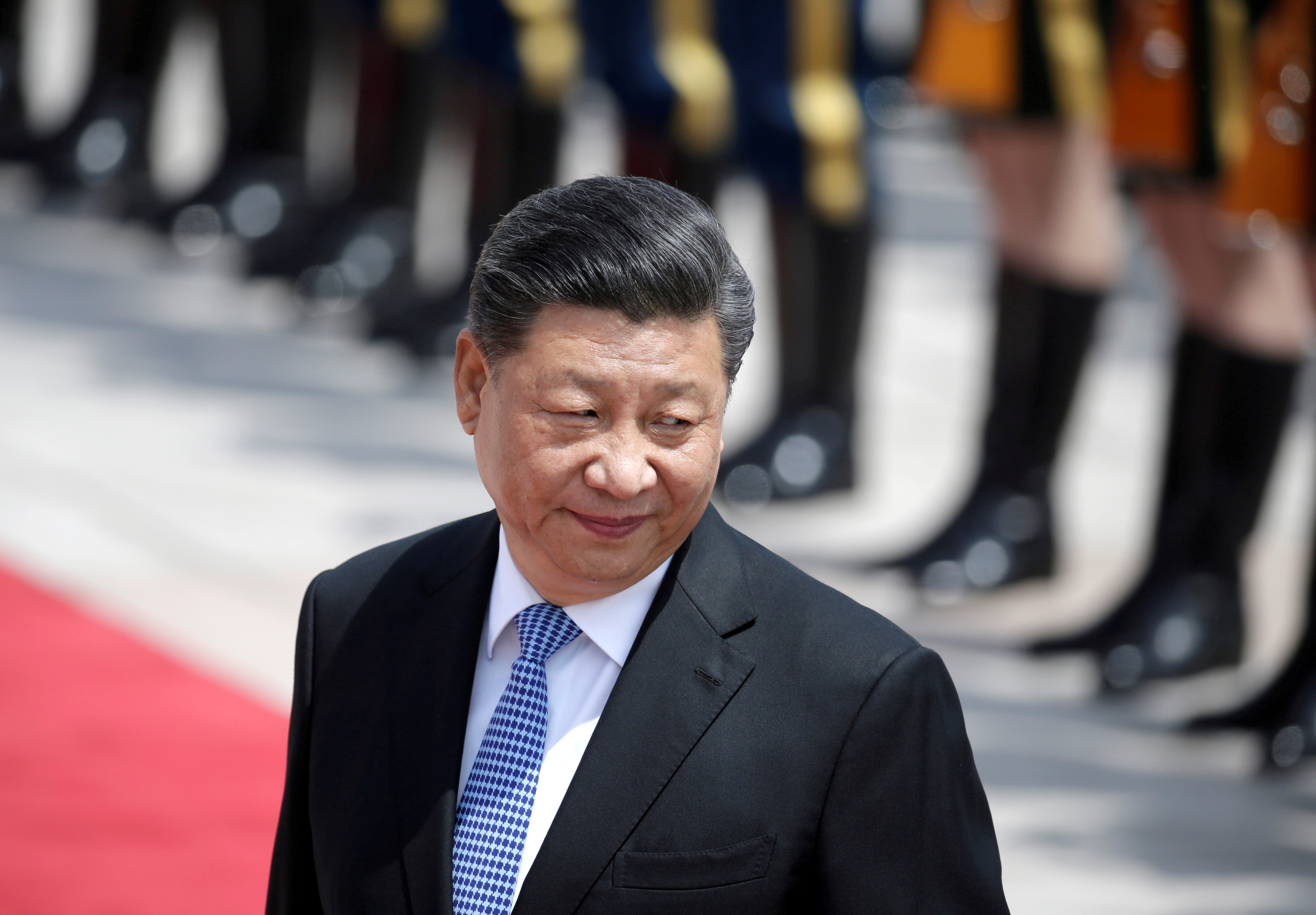 Chinese President Xi Jinping attends a welcoming ceremony for Greek President Prokopis Pavlopoulos outside the Great Hall of the People, in Beijing, China May 14, 2019. REUTERS/Jason Lee//File Photo