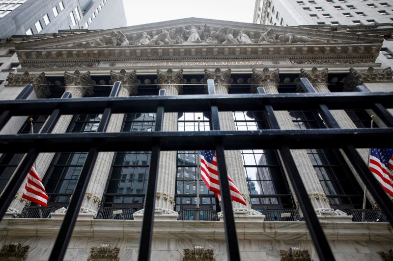 The front facade of the New York Stock Exchange (NYSE) is seen in New York City, U.S., May 4, 2021.  REUTERS/Brendan McDermid/File Photo