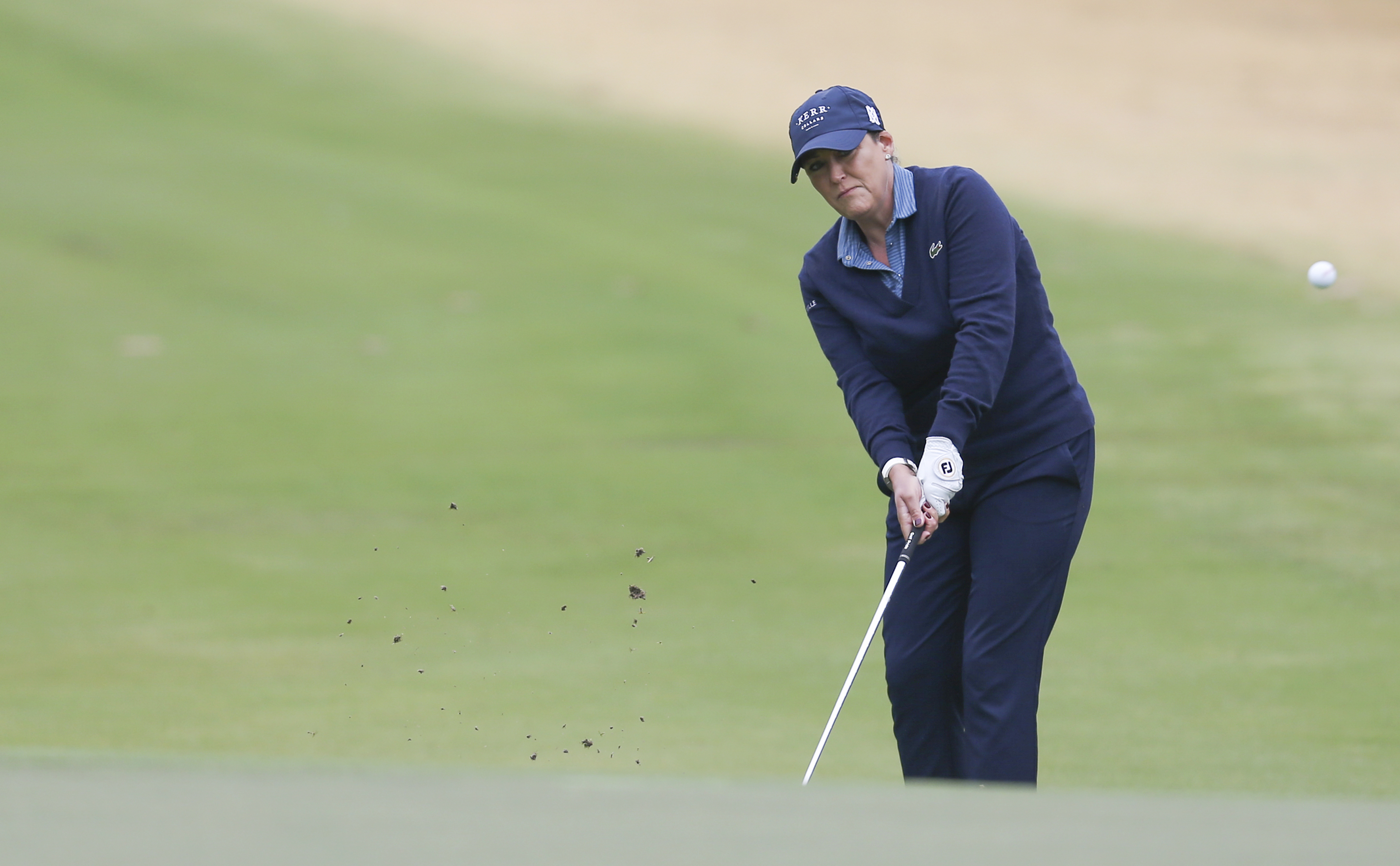 Dec 12, 2020; Houston, Texas, USA; Cristie Kerr, hits chip shot on the first hole during the third round of the U.S. Women's Open golf tournament at Champions Golf Club./ Thomas Shea-USA TODAY Sports/File Photo