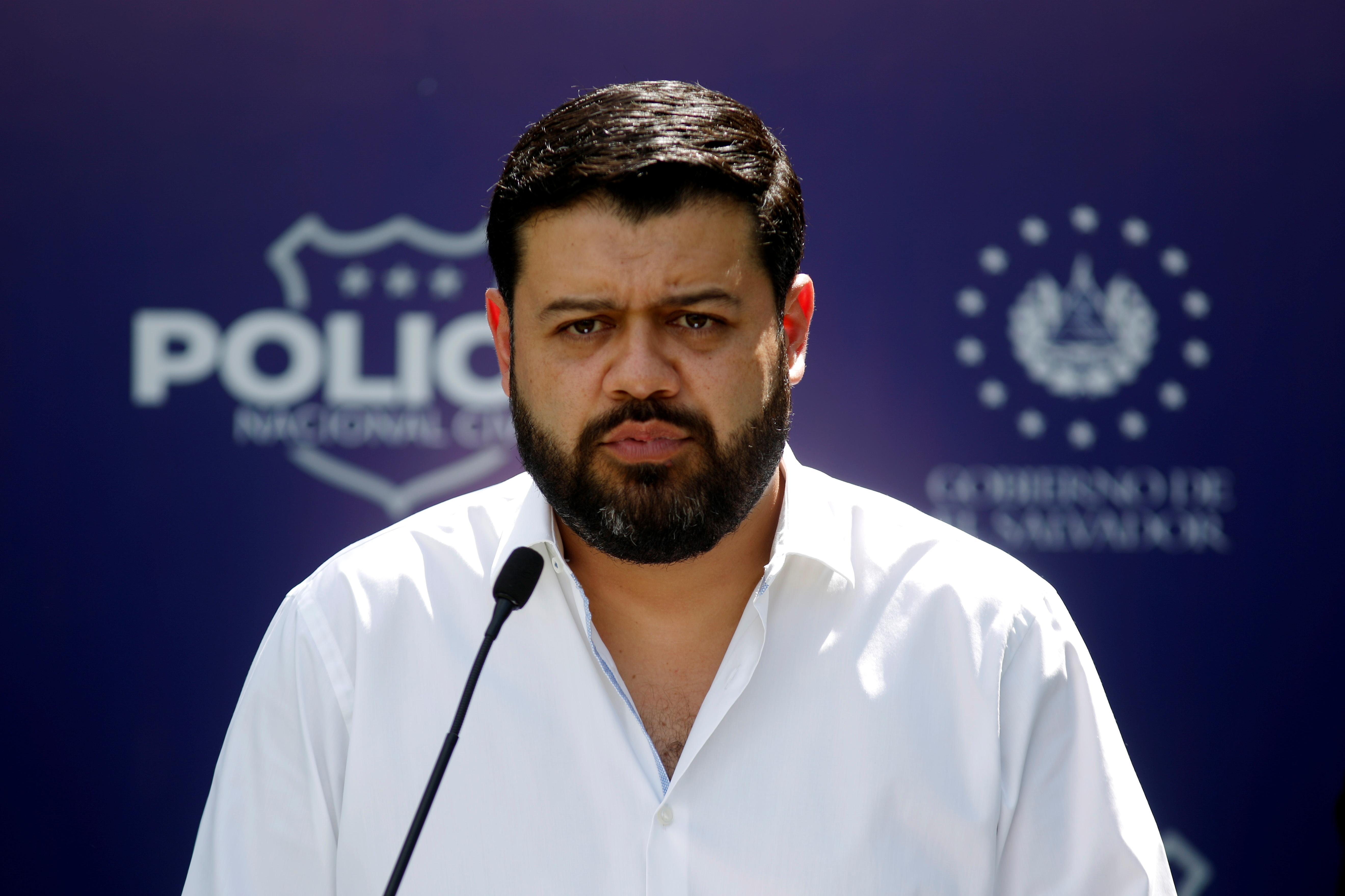 Minister of Justice and Security Rogelio Rivas takes part in a news conference after a drug bust operation in San Luis La Herradura, El Salvador February 11, 2021.   REUTERS/Jose Cabezas