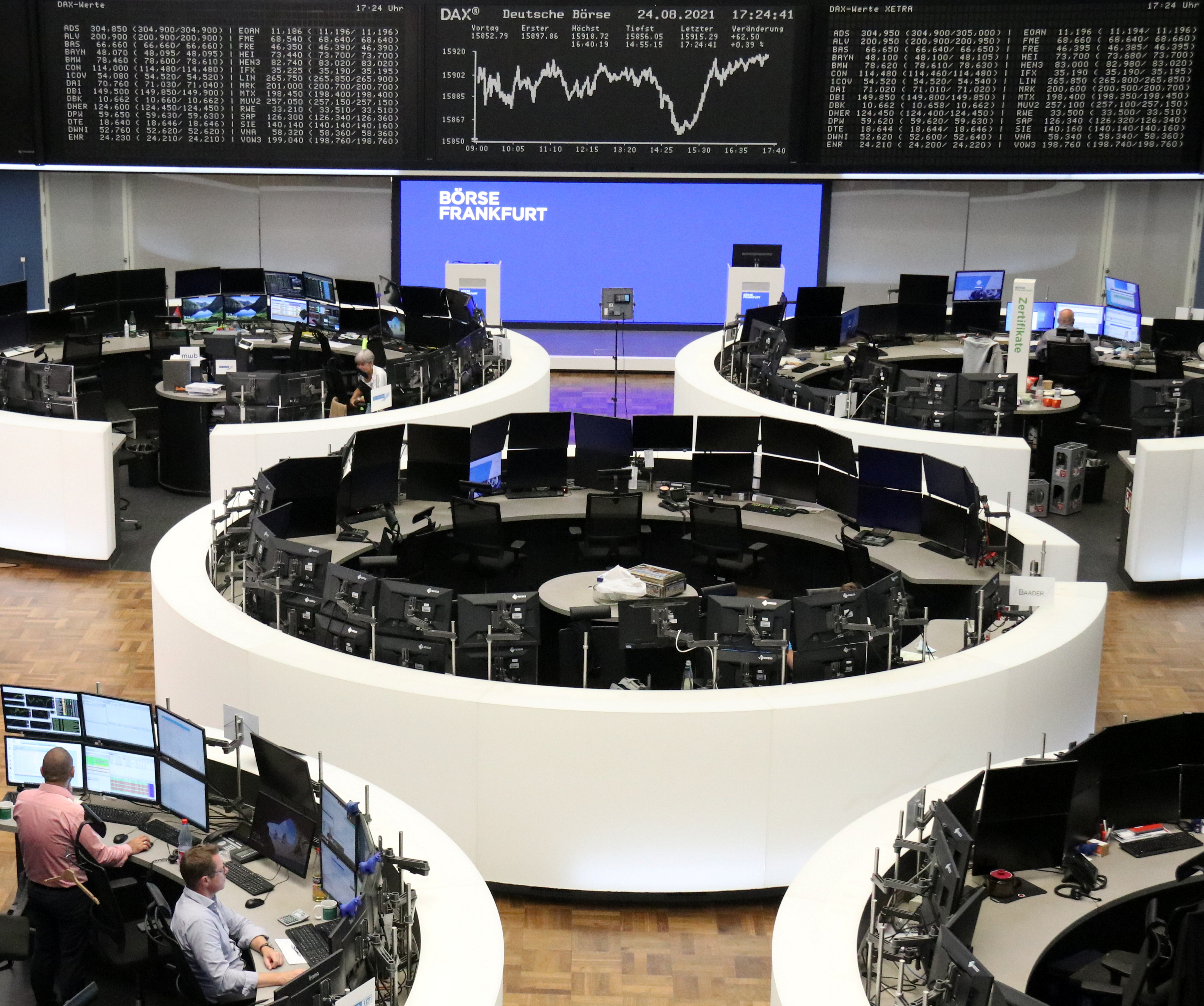 The German share price index DAX graph is pictured at the stock exchange in Frankfurt, Germany August 24, 2021. REUTERS/Staff