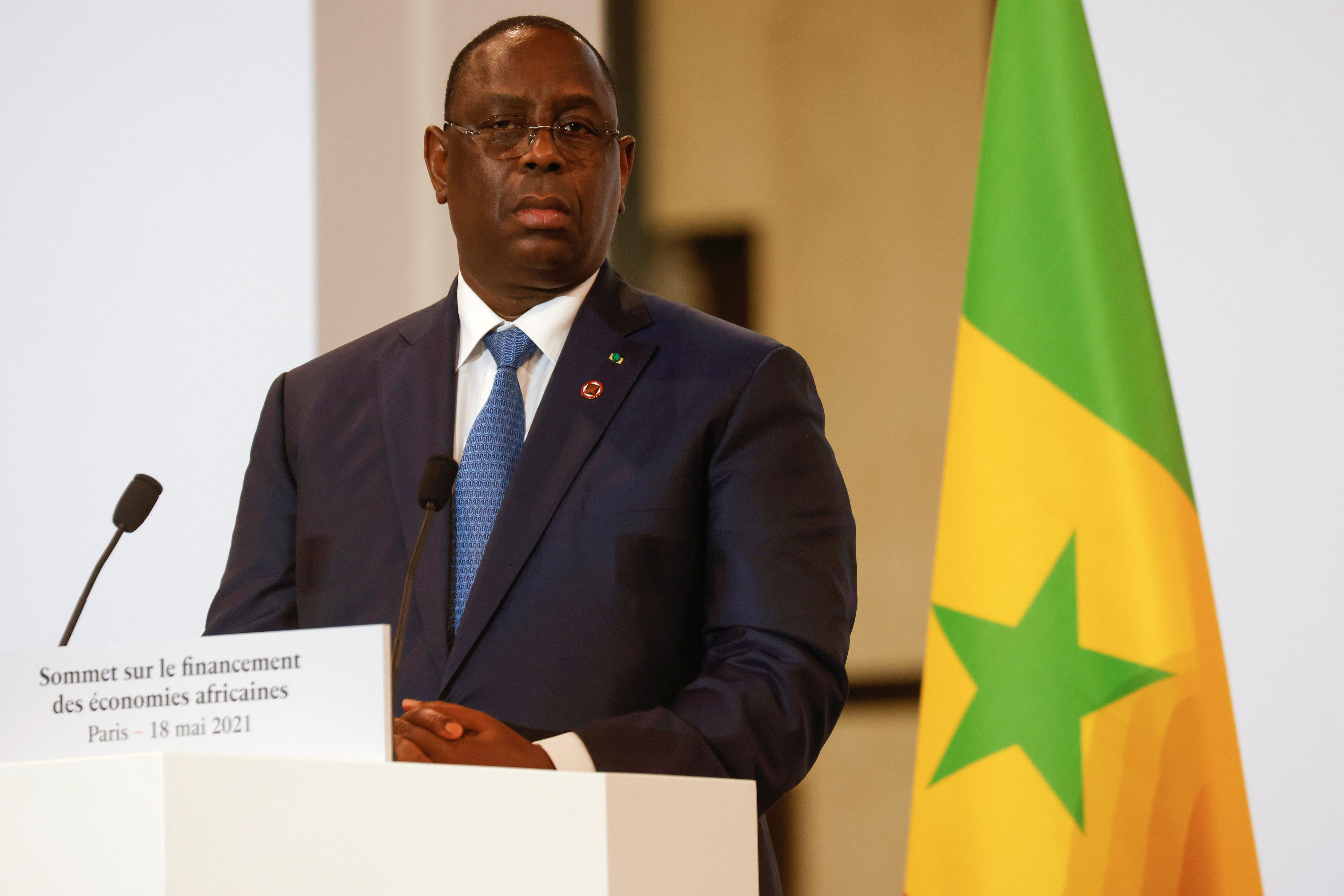 Senegal's President Macky Sall speaks during a joint  news conference at the end of the Summit on the Financing of African Economies in Paris, France May 18, 2021. Ludovic Marin/Pool via REUTERS/File Photo