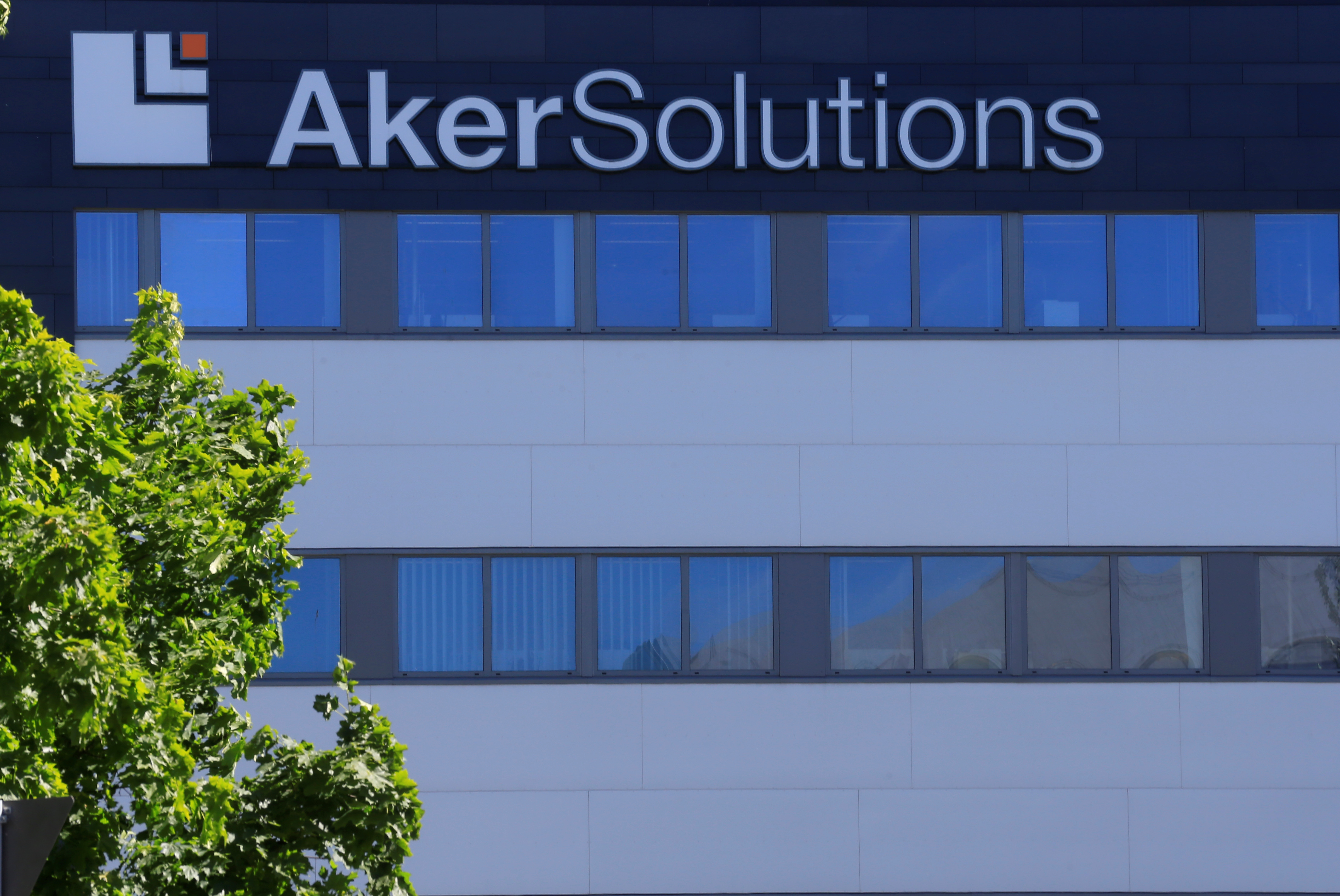 Aker Solutions oil service company's logo is seen at their headquarters in Fornebu, Norway, June 1, 2017. REUTERS/Ints Kalnins