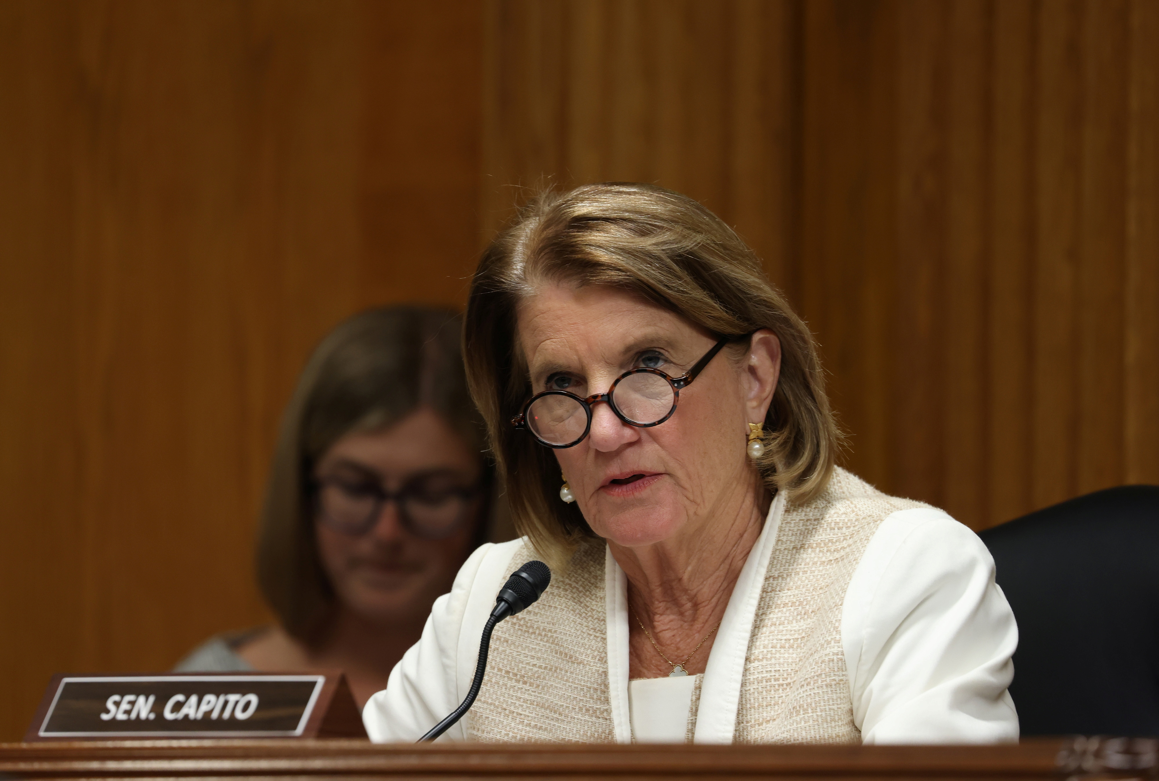 U.S. Sen. Shelley Moore Capito, R-WV, questions Xavier Becerra, Secretary of the Department of Health and Human Services (HHS), as he testifies before a Senate Appropriations Subcommittee at the U.S. Capitol in Washington, DC, U.S. June 9, 2021. Tasos Katopodis/Pool via REUTERS