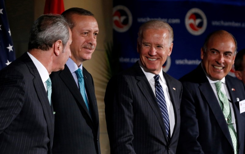 U.S. Vice President Joe Biden is pictured with Turkey's Prime Minister Recep Tayyip Erdogan (2nd L) during an event at the U.S. Chamber of Commerce in Washington, May 16, 2013.   REUTERS/Jason Reed/File Photo