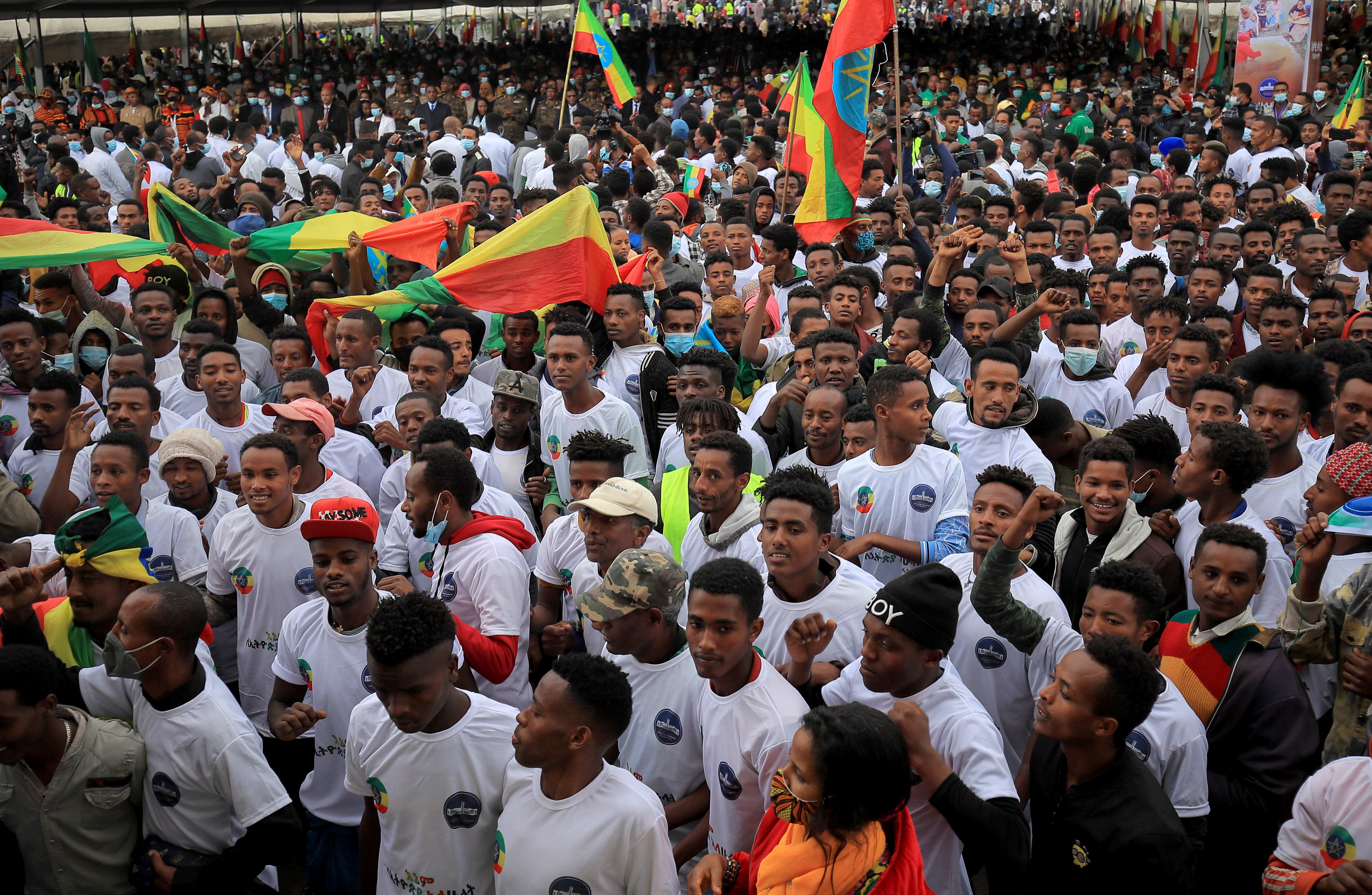 Recruits to join Ethiopia's Defense Force gather during the farewell ceremony at the Meskel Square in Addis Ababa, Ethiopia July 27, 2021. REUTERS/Tiksa Negeri