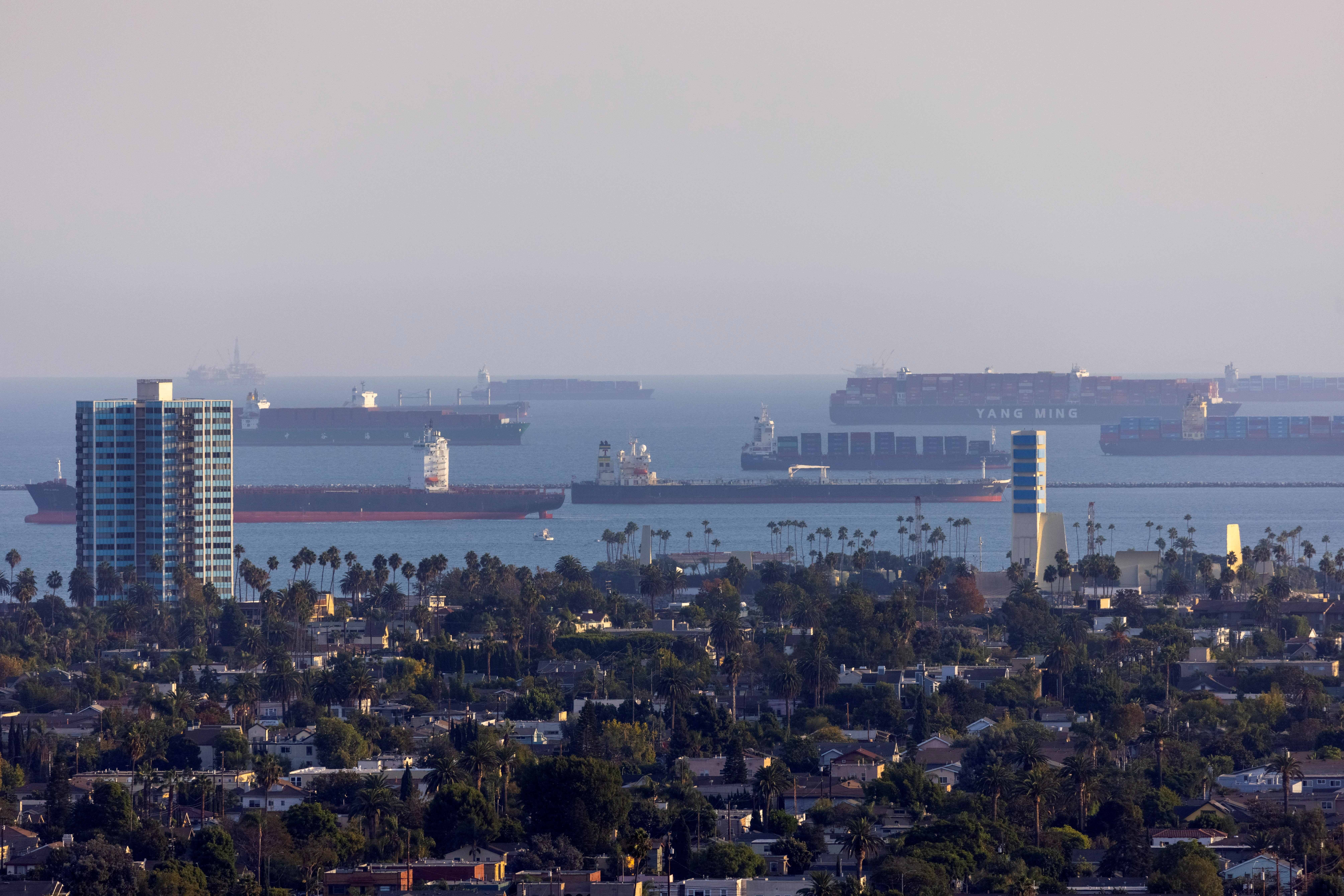 Container ships wait off the coast of the congested ports of Los Angeles and Long Beach, in Long Beach, California, U.S., September 29, 2021. REUTERS/Mike Blake