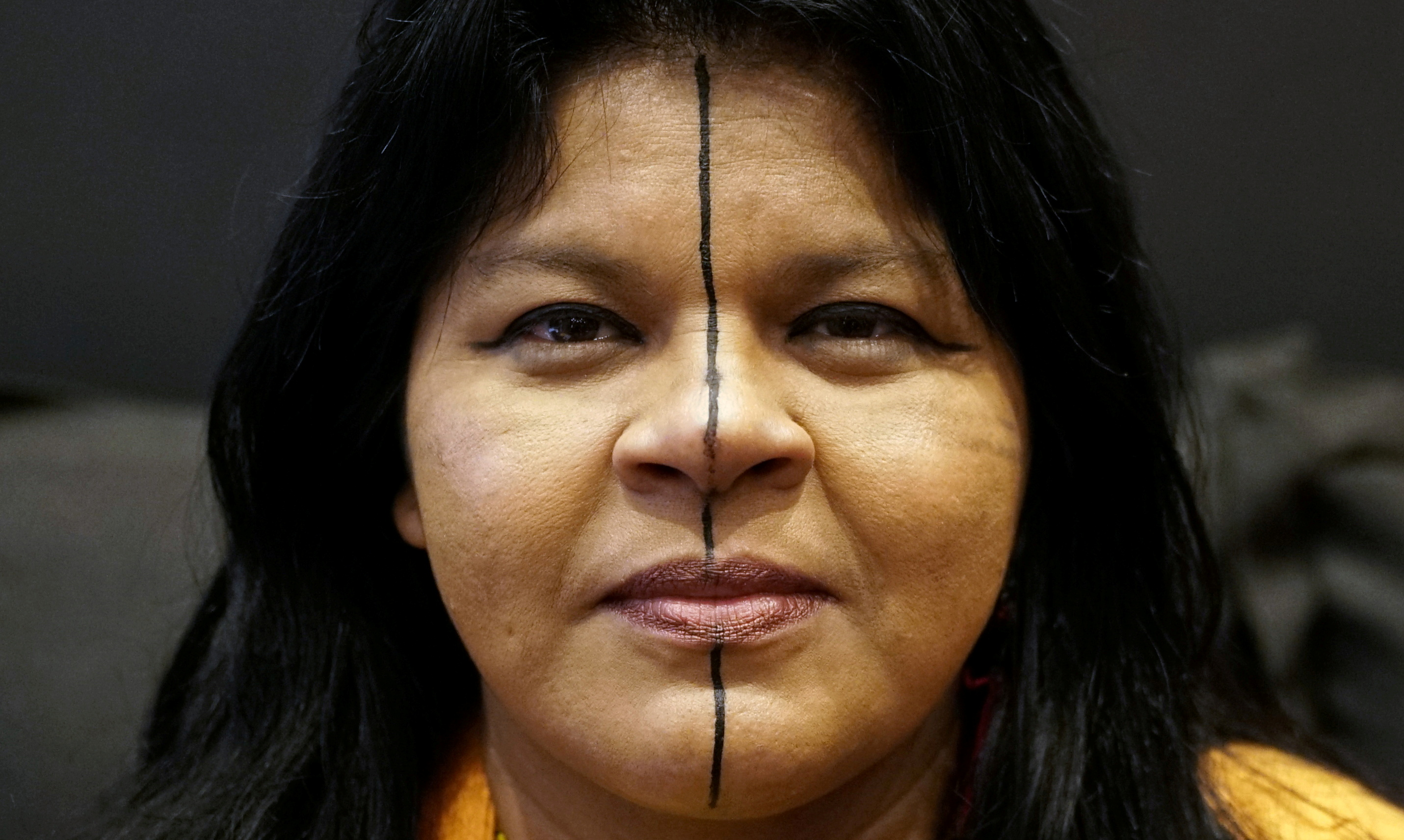 Indigenous leader Sonia Guajajara of the Guajajara tribe is seen during an interview with Reuters during her European tour in Paris, France, November 11, 2019. REUTERS/Noemie Olive/File Photo