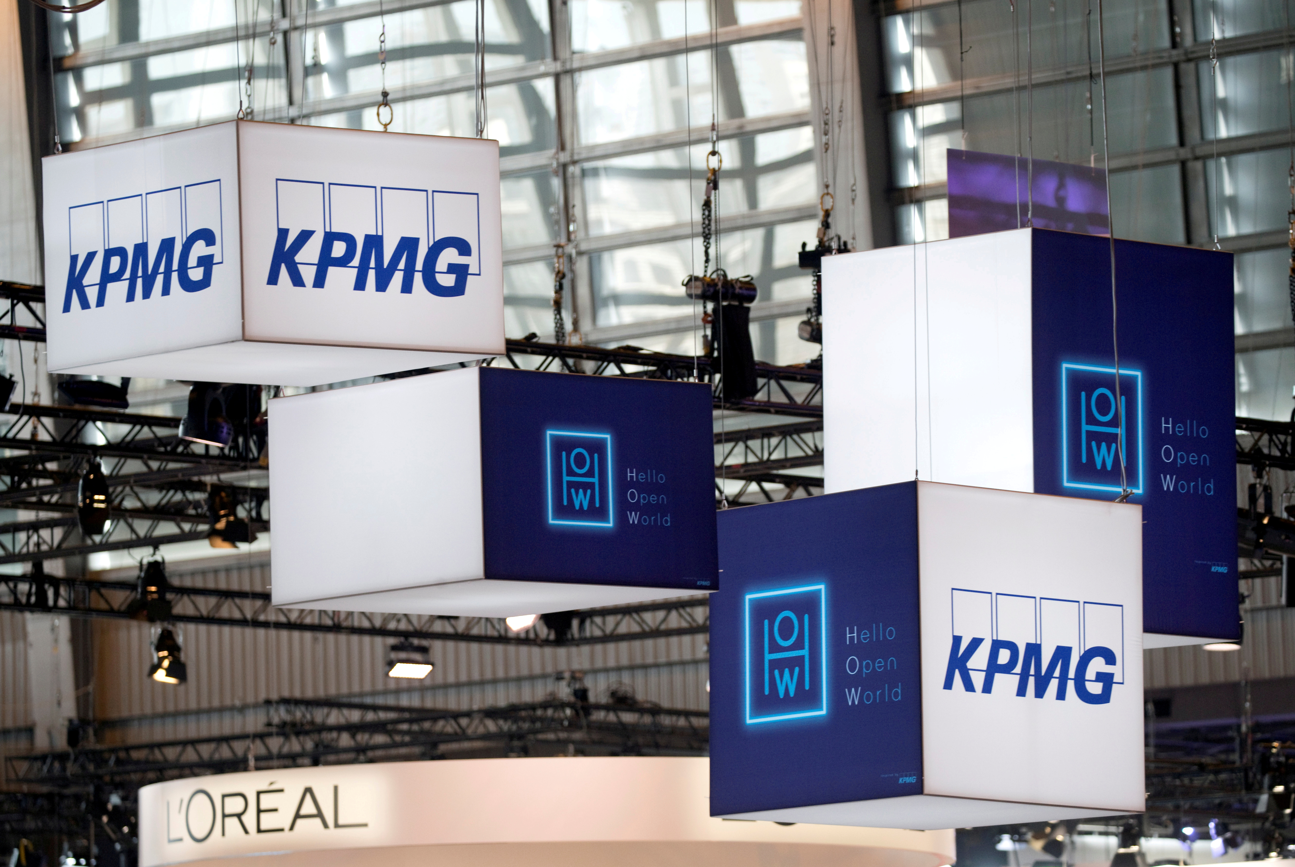 The logo of KPMG, a professional service company, is pictured during the Viva Tech start-up and technology summit in Paris, France, May 25, 2018. REUTERS/Charles Platiau/File Photo