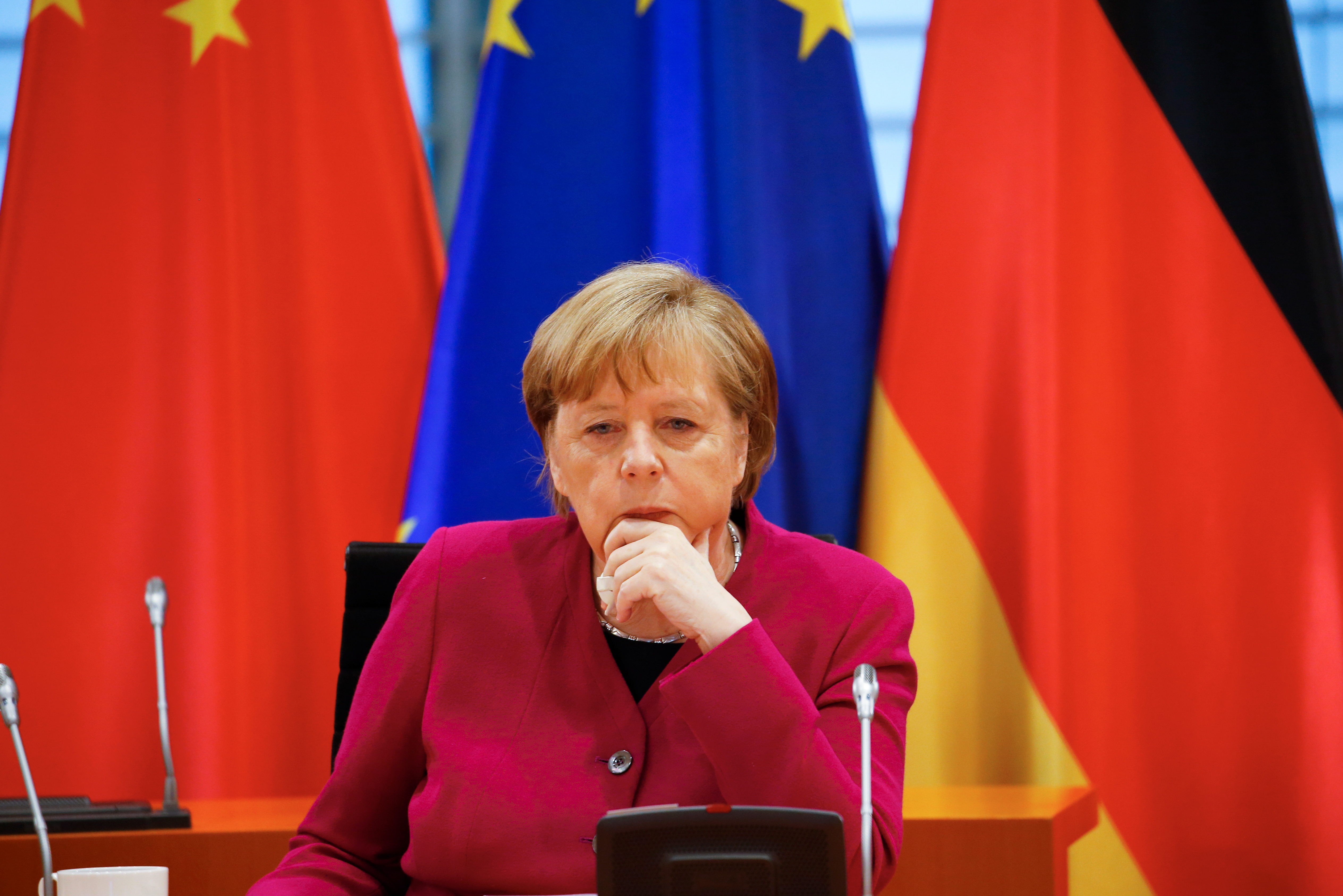 German Chancellor Angela Merkel attends virtual talks as part of the Sixth German-Chinese Government Consultations, in Berlin, Germany April 28, 2021. REUTERS/Michele Tantussi/Pool