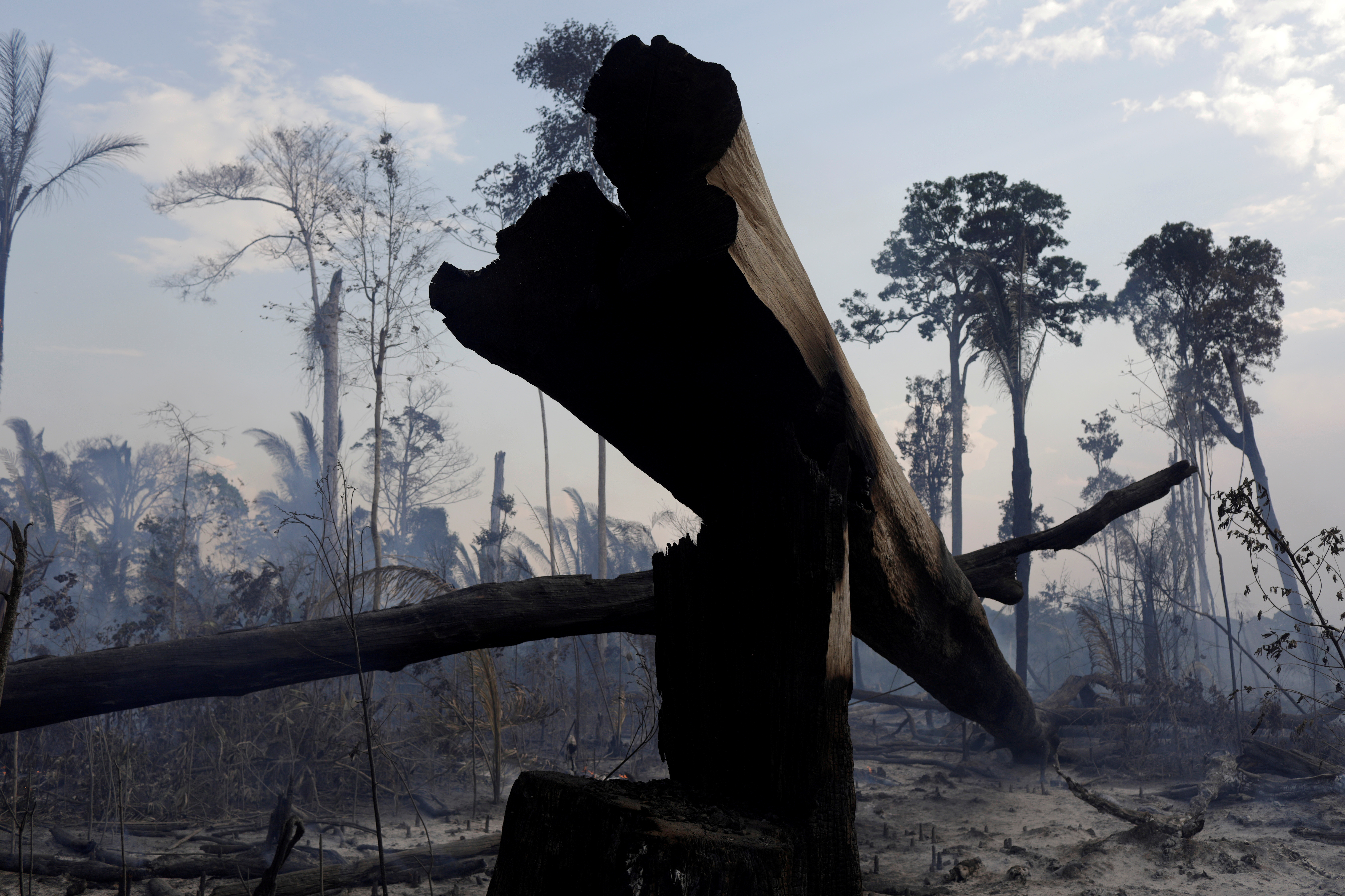 A burning tract of the Amazon forest as it is cleared by farmers, in Rio Pardo, Rondonia, Brazil September 16, 2019. REUTERS/Ricardo Moraes