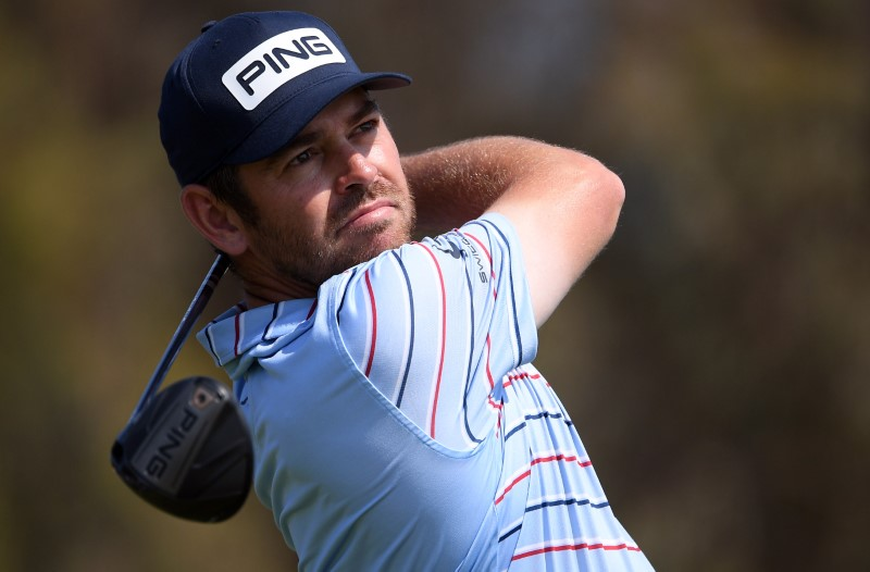 Jun 17, 2021; San Diego, California, USA; Louis Oosthuizen plays his shot from the 12th tee during the first round of the U.S. Open golf tournament at Torrey Pines Golf Course. Mandatory Credit: Orlando Ramirez-USA TODAY Sports