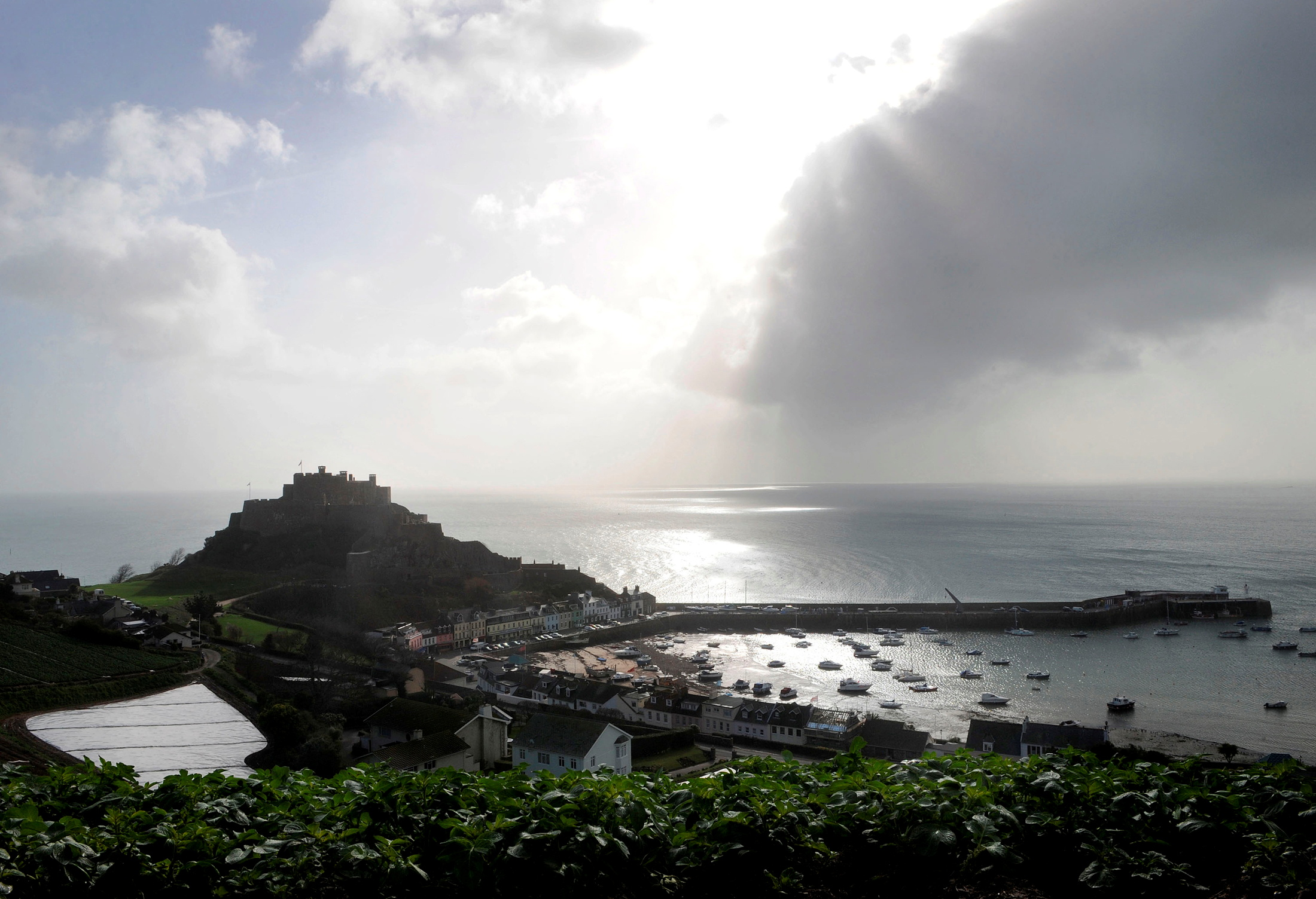 The village of Gorey Harbour and Mont Orgueil castle are seen in Jersey in this March 1, 2008 file photo./Toby Melville