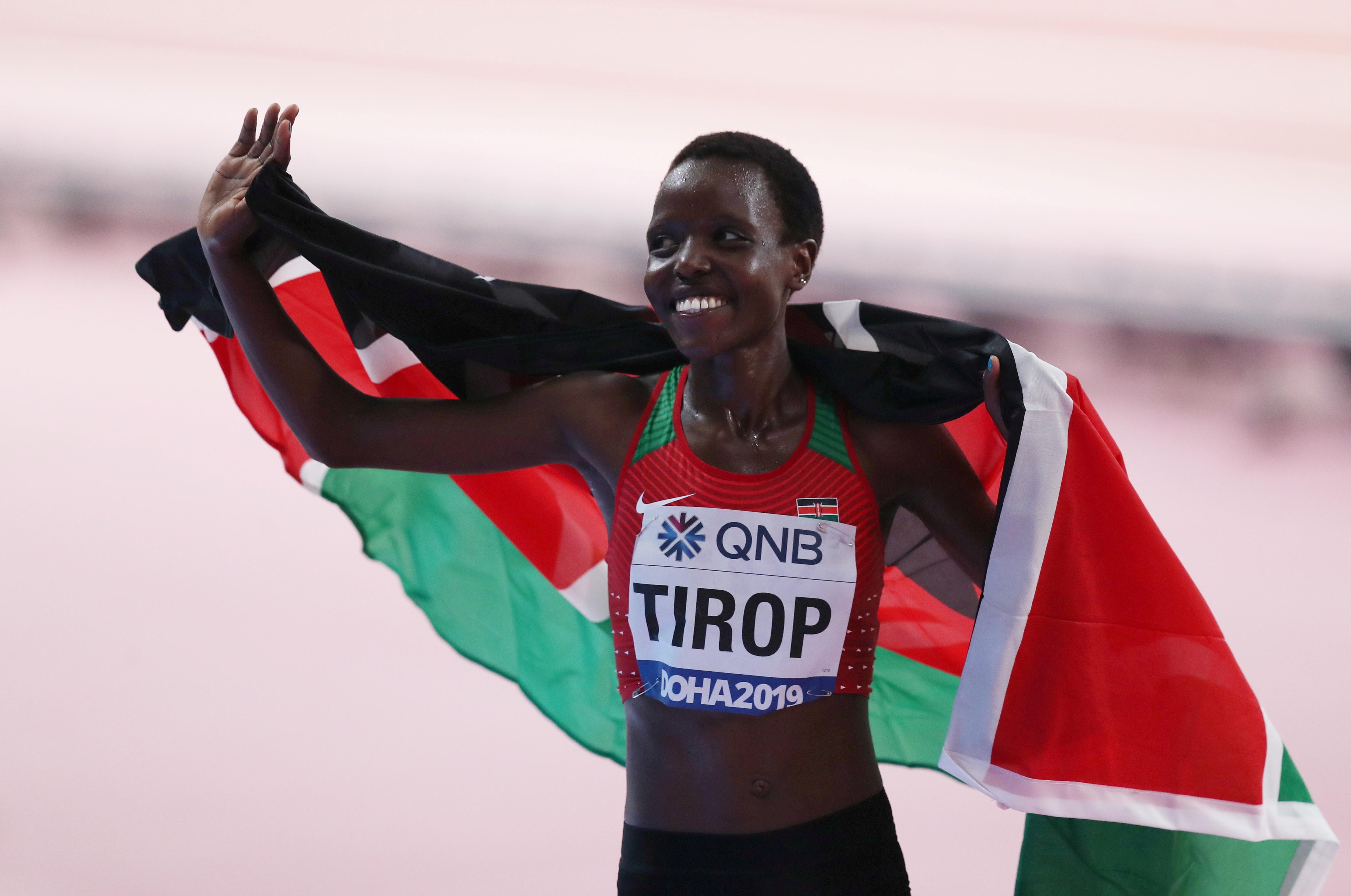 Kenya's Agnes Jebet Tirop reacts after finishing third in the final REUTERS/Ibraheem Al Omari/File Photo