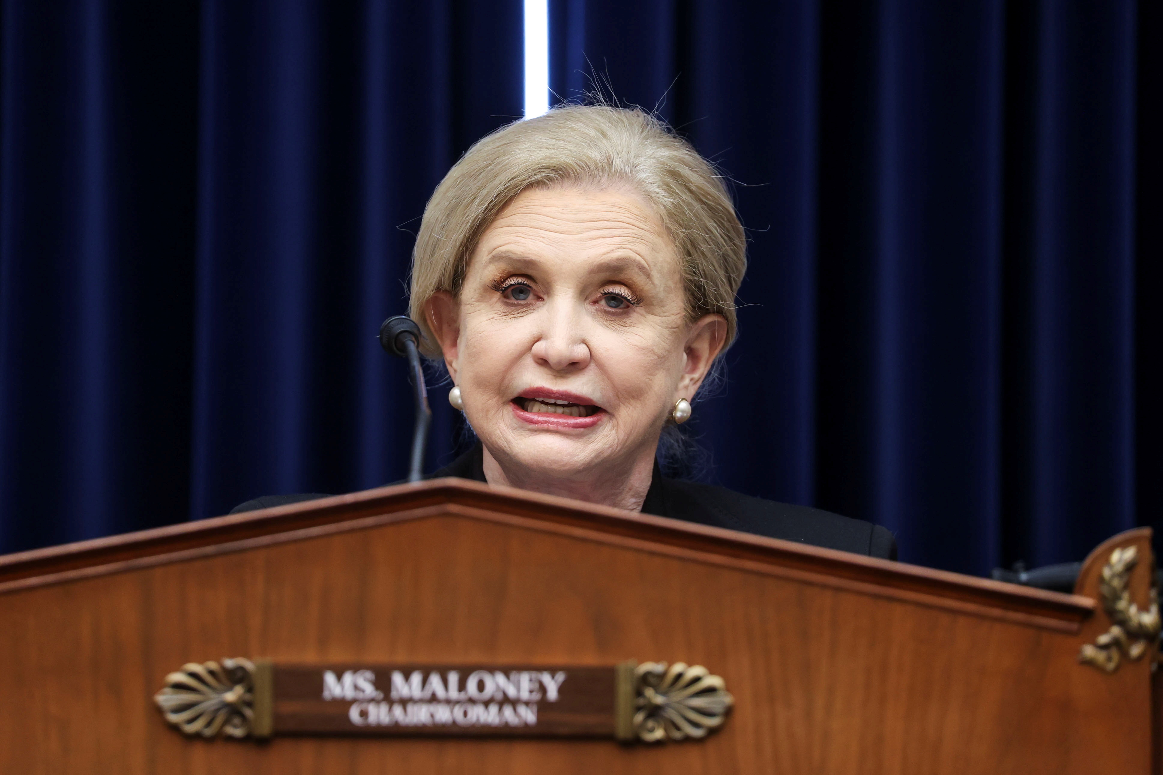 """House Oversight and Reform Committee Chairwoman Carolyn Maloney (D-NY) presides during a House Oversight and Reform Committee hearing titled """"The Capitol Insurrection: Unexplained Delays and Unanswered Questions,"""" regarding the on January 6 attack on the U.S. Capitol, on Capitol Hill in Washington, U..S., May 12, 2021 REUTERS/Jonathan Ernst/Pool"""