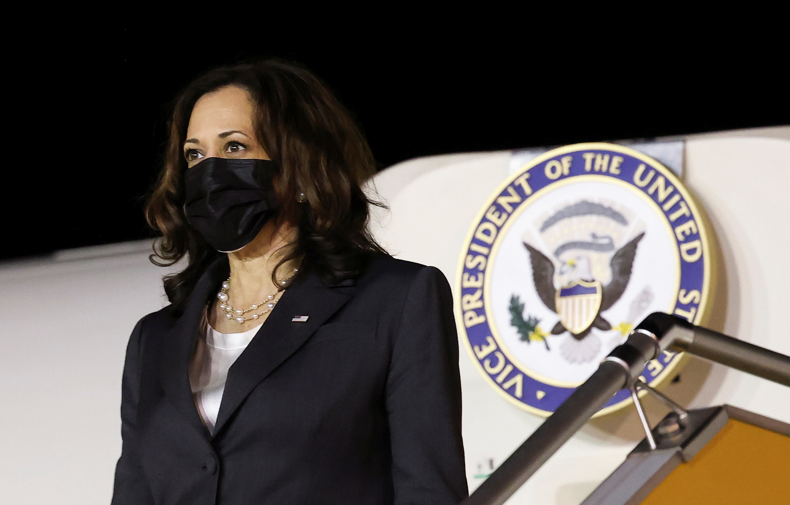 U.S. Vice President Kamala Harris arrives for the second leg of her Asia trip, in Hanoi, Vietnam, August, 24, 2021. REUTERS/Evelyn Hockstein/Pool