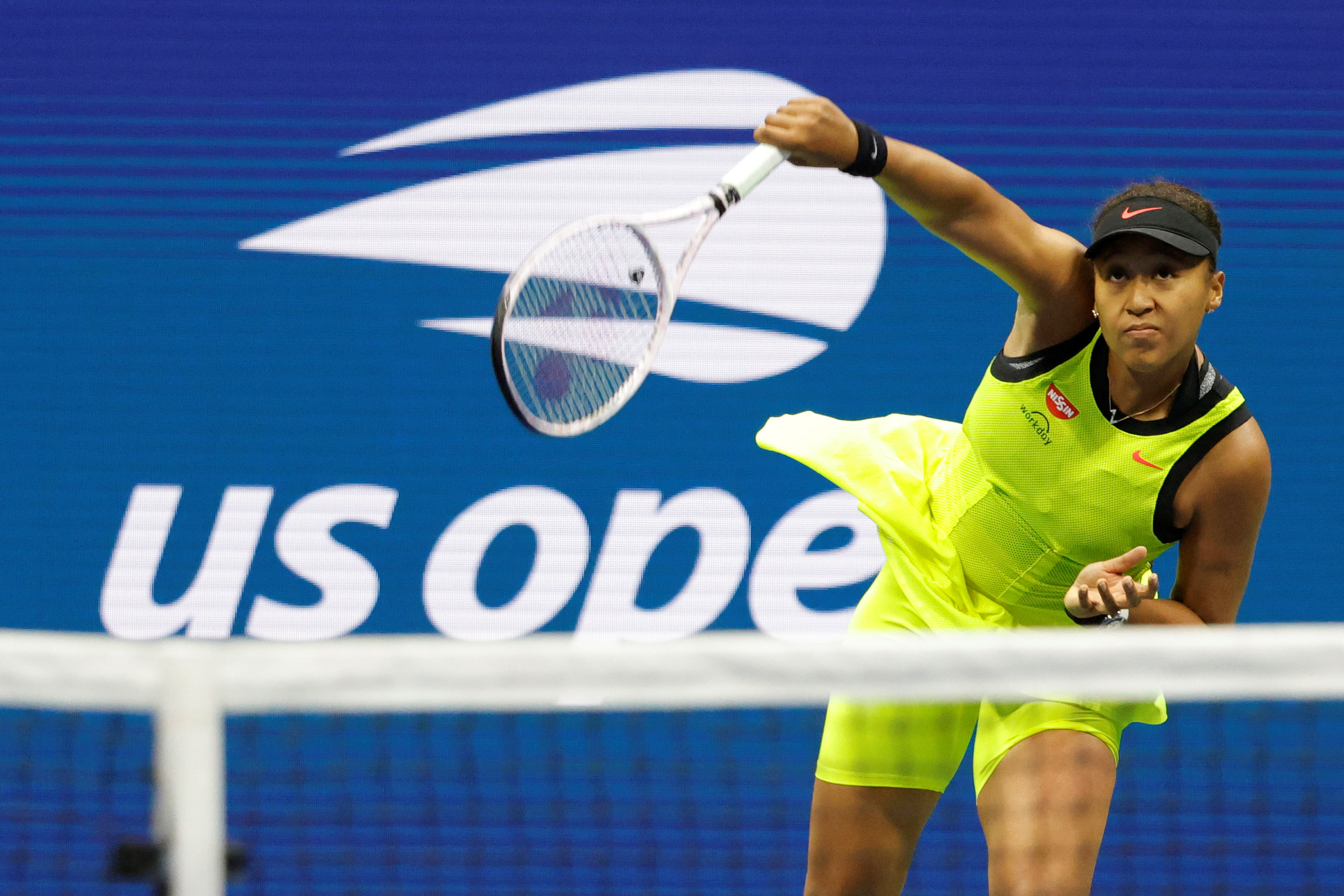 Sep 3, 2021; Flushing, NY, USA; Naomi Osaka of Japan serves against Leylah Annie Fernandez of Canada (not pictured) on day five of the 2021 U.S. Open tennis tournament at USTA Billie Jean King National Tennis Center. Mandatory Credit: Geoff Burke-USA TODAY Sports